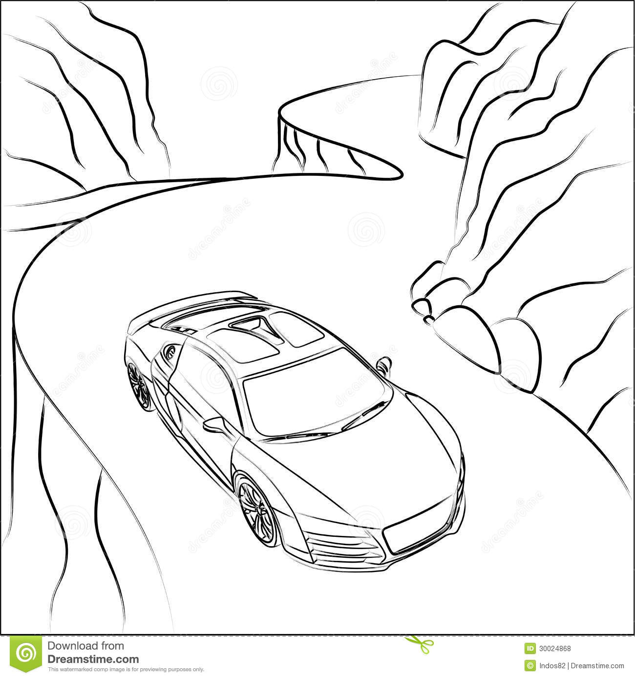 Sport Car On Mountain Road Royalty Free Stock Photos