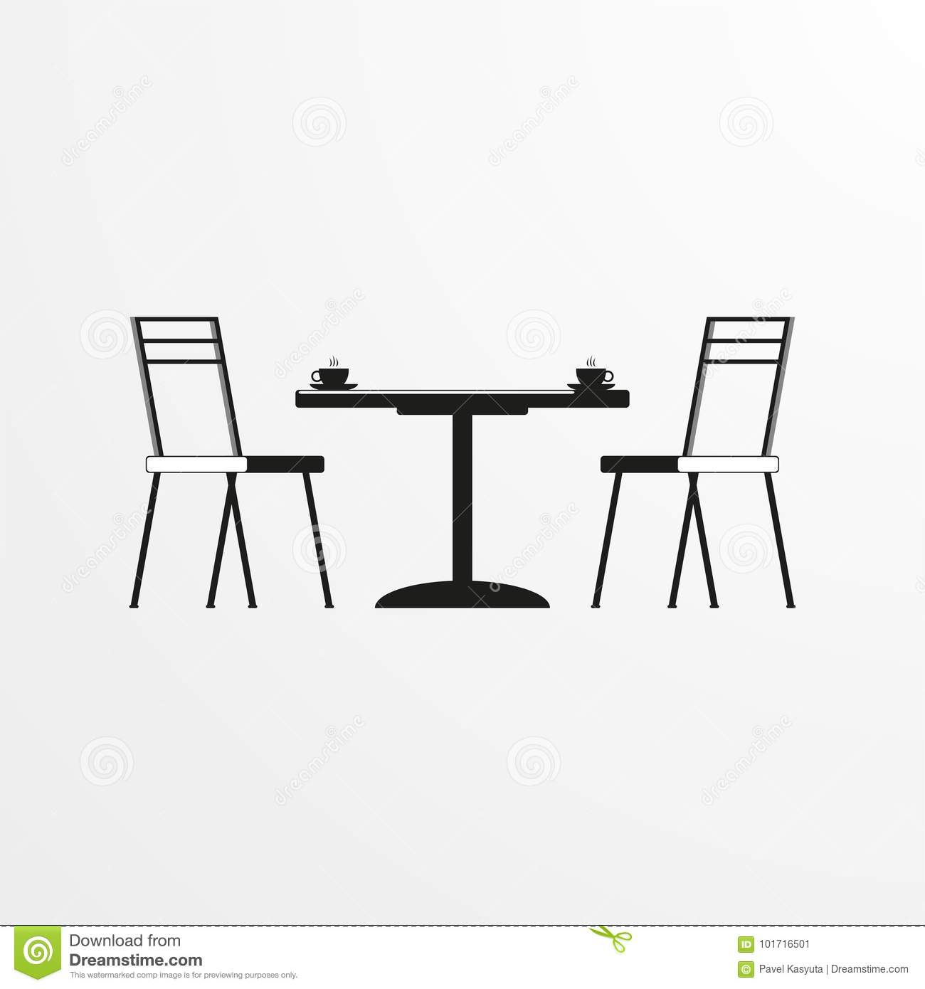 Table With Two Chairs Coffee Table And Two Chairs Vector Icon Stock Illustration