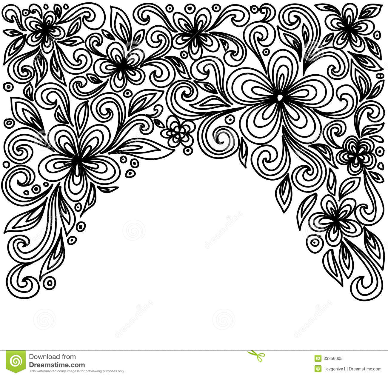Black And White Lace Flowers And Leaves Isolated On White
