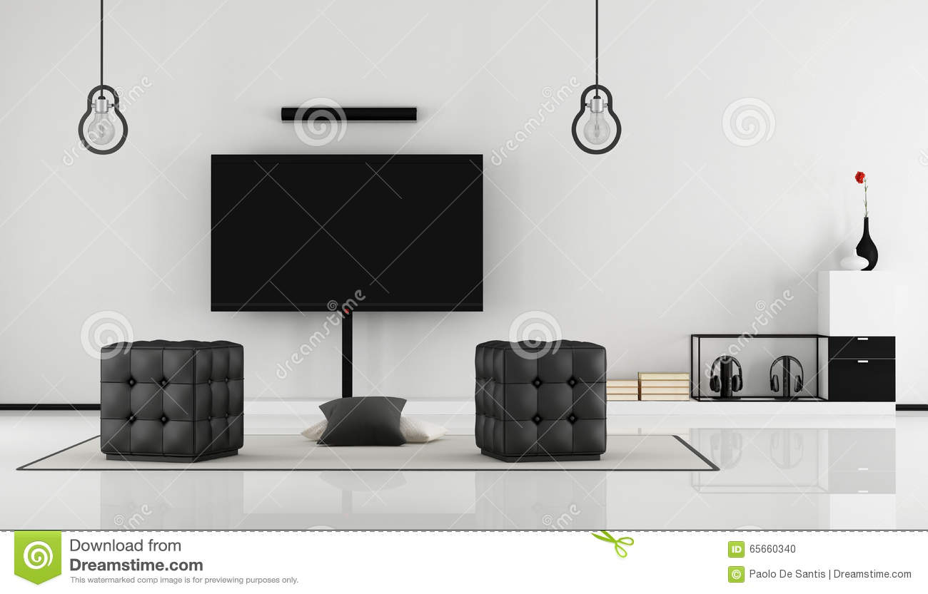White Living Room With TV Set Royalty