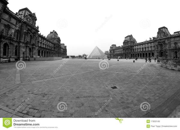 Black And White Louvre Museum In Paris France Editorial