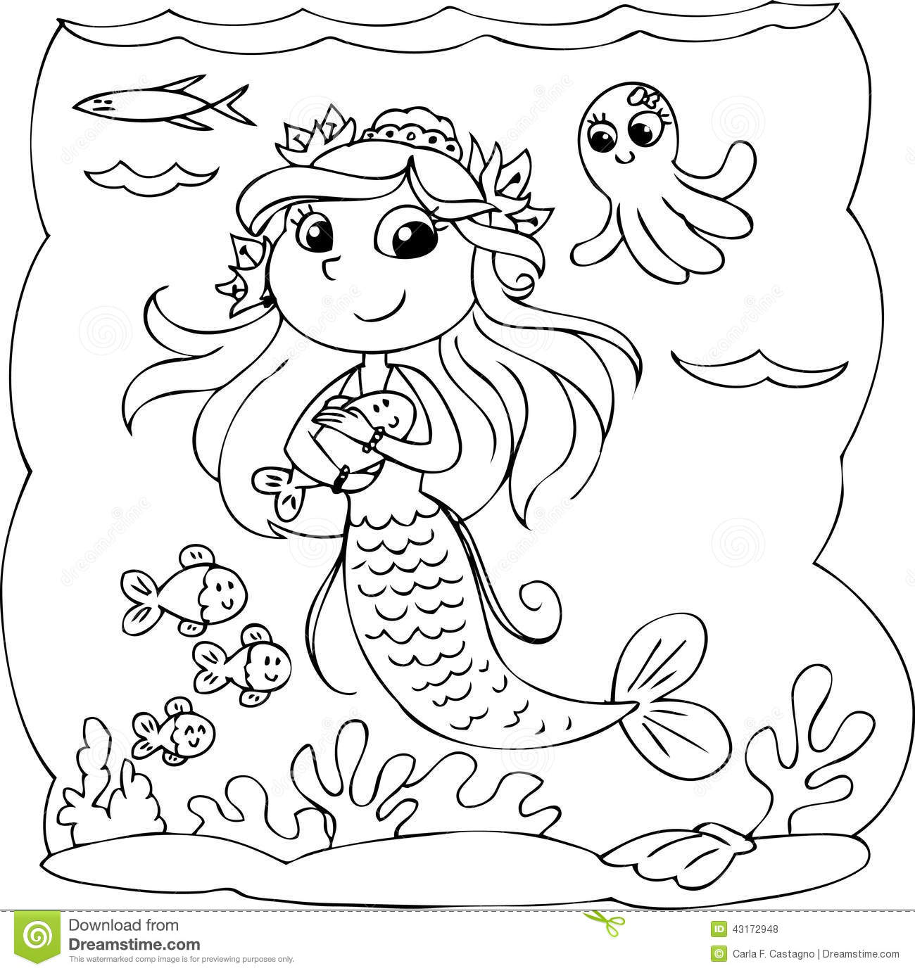 Black And White Mermaid Under Water Stock Vector