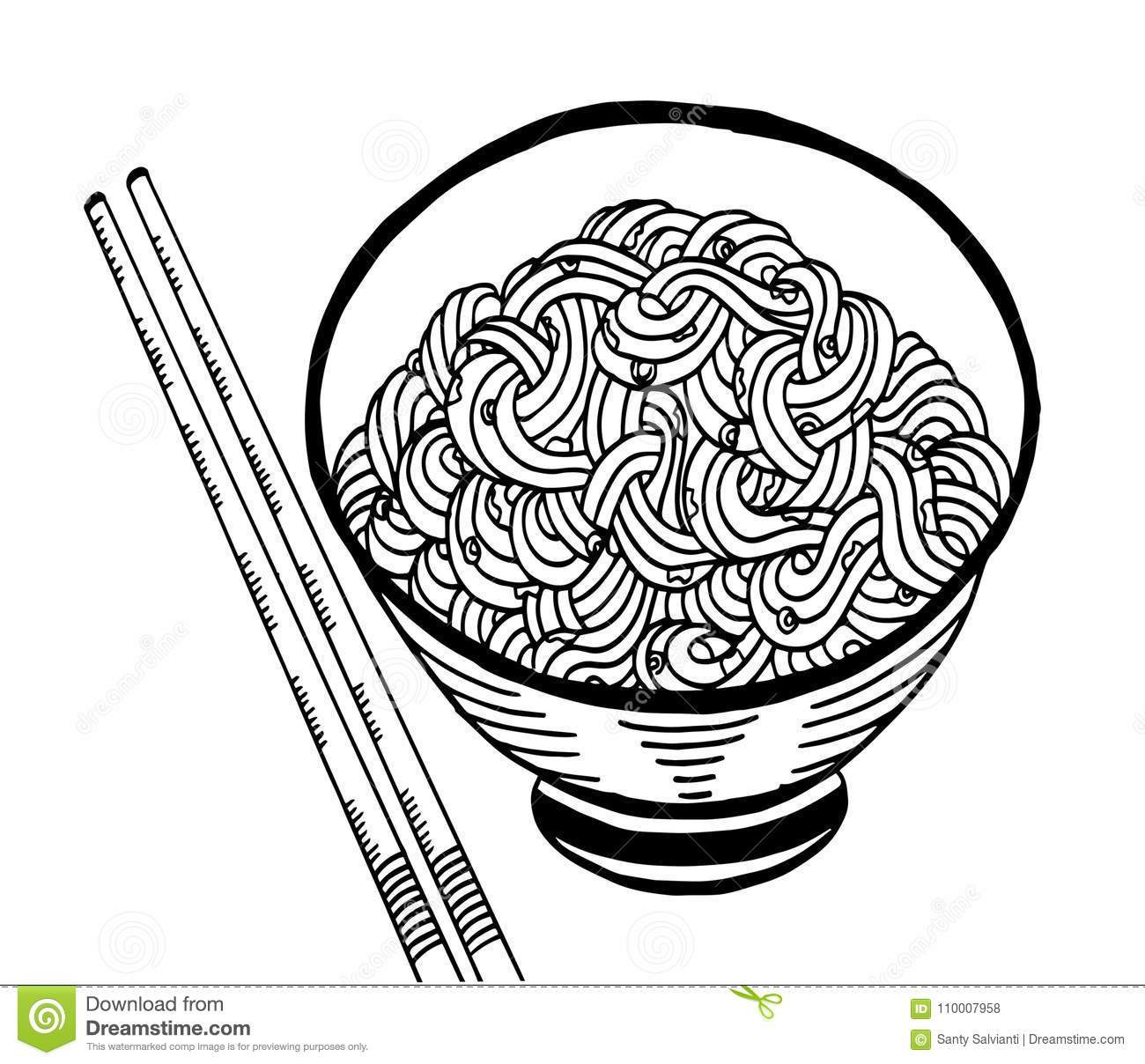 Black And White Noodle At Bowl Illustration Hand Drawing