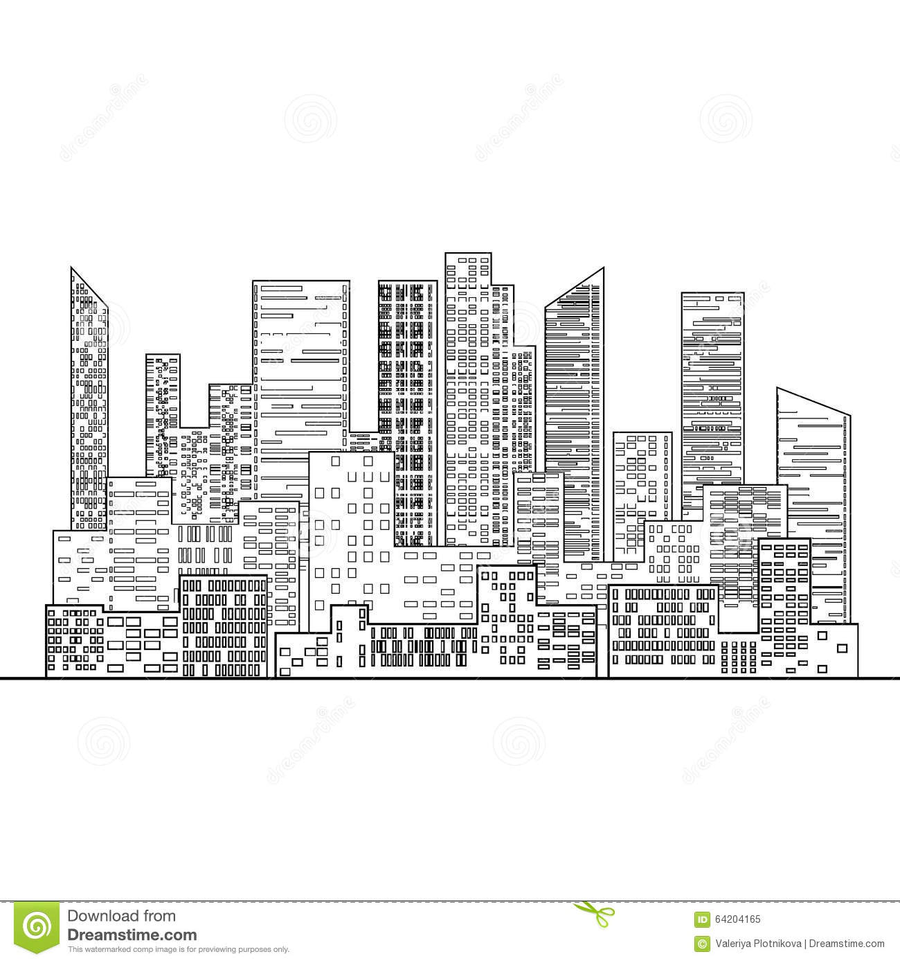 Black And White Outline The City With Windows Stock Vector