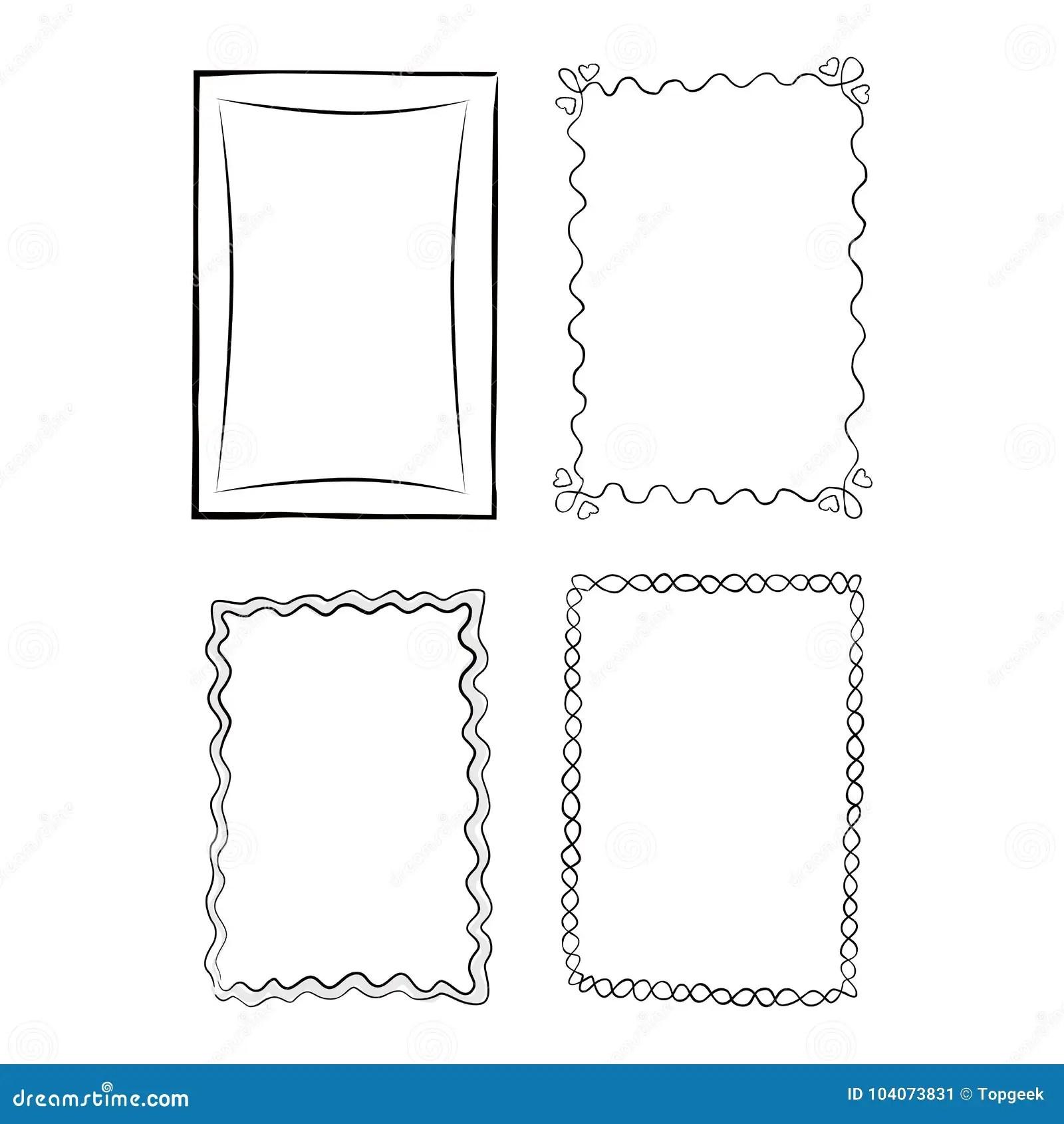Black And White Outlined Frames Illustrations Set Stock
