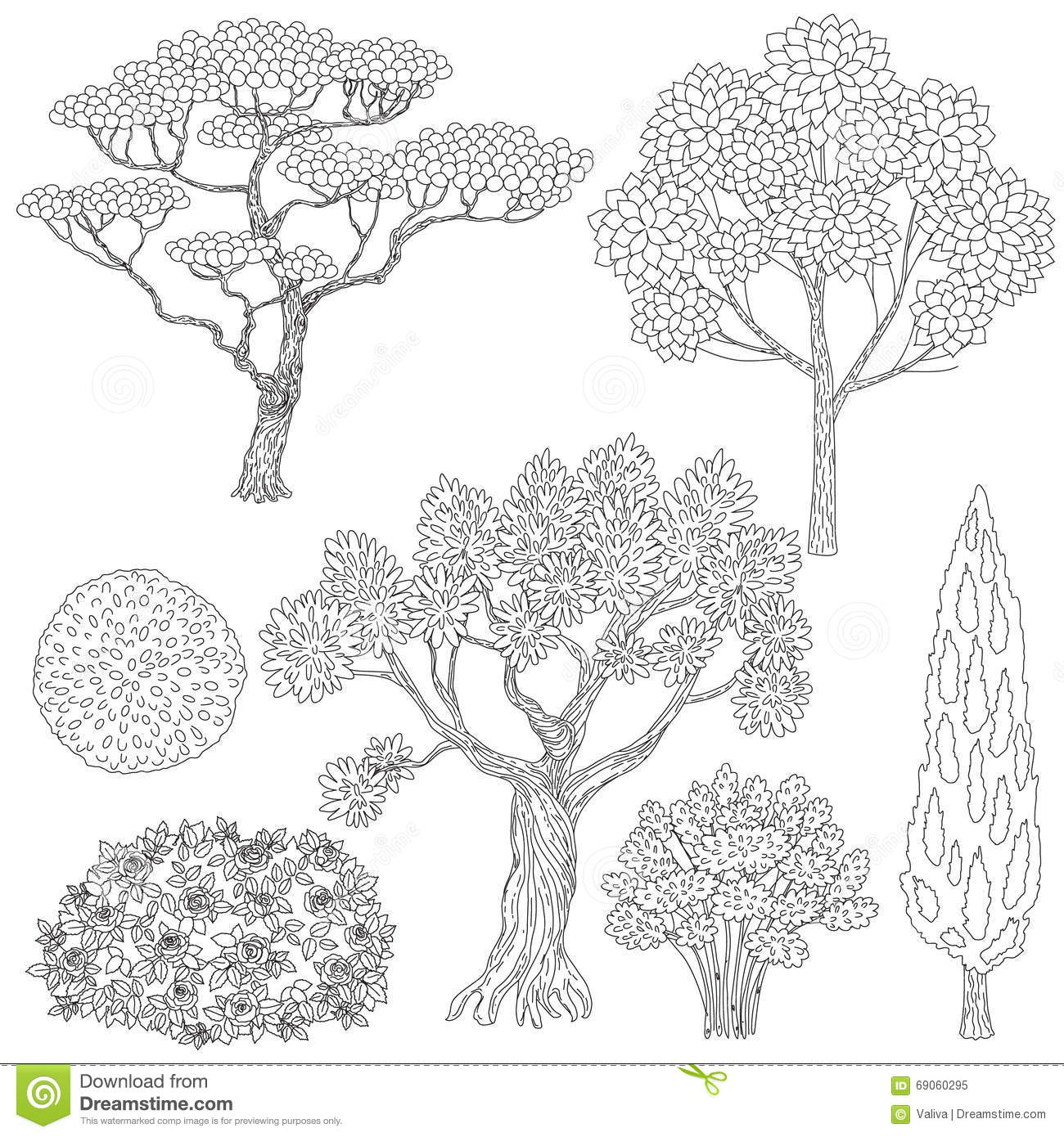Black And White Outlines Trees And Bushes Stock Vector