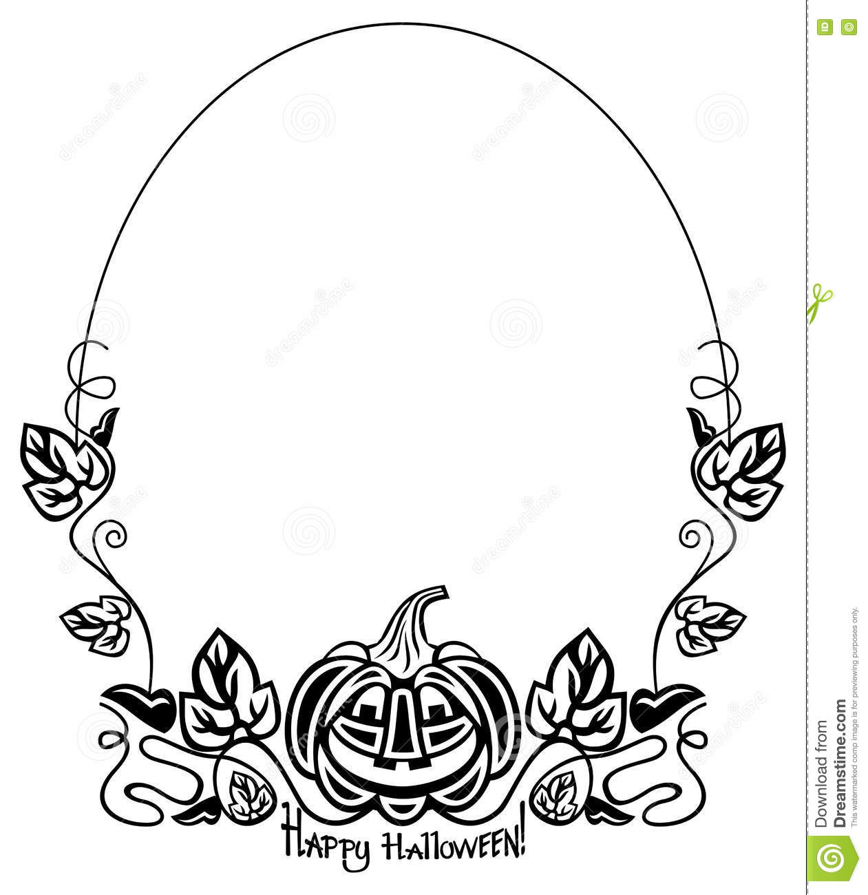 Black And White Oval Frame With Halloween Pumpkin