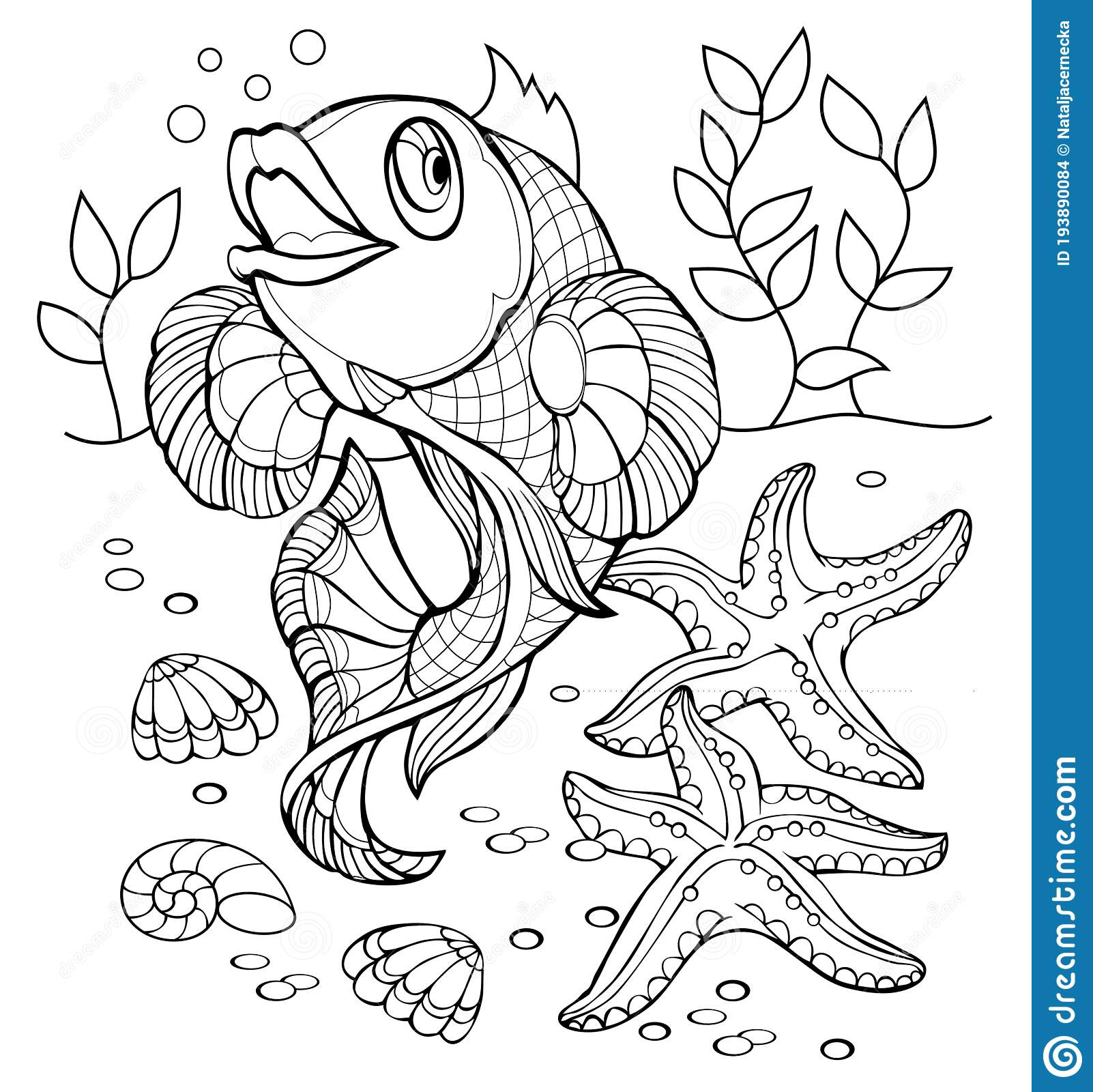 Black And White Page For Baby Coloring Book Illustration