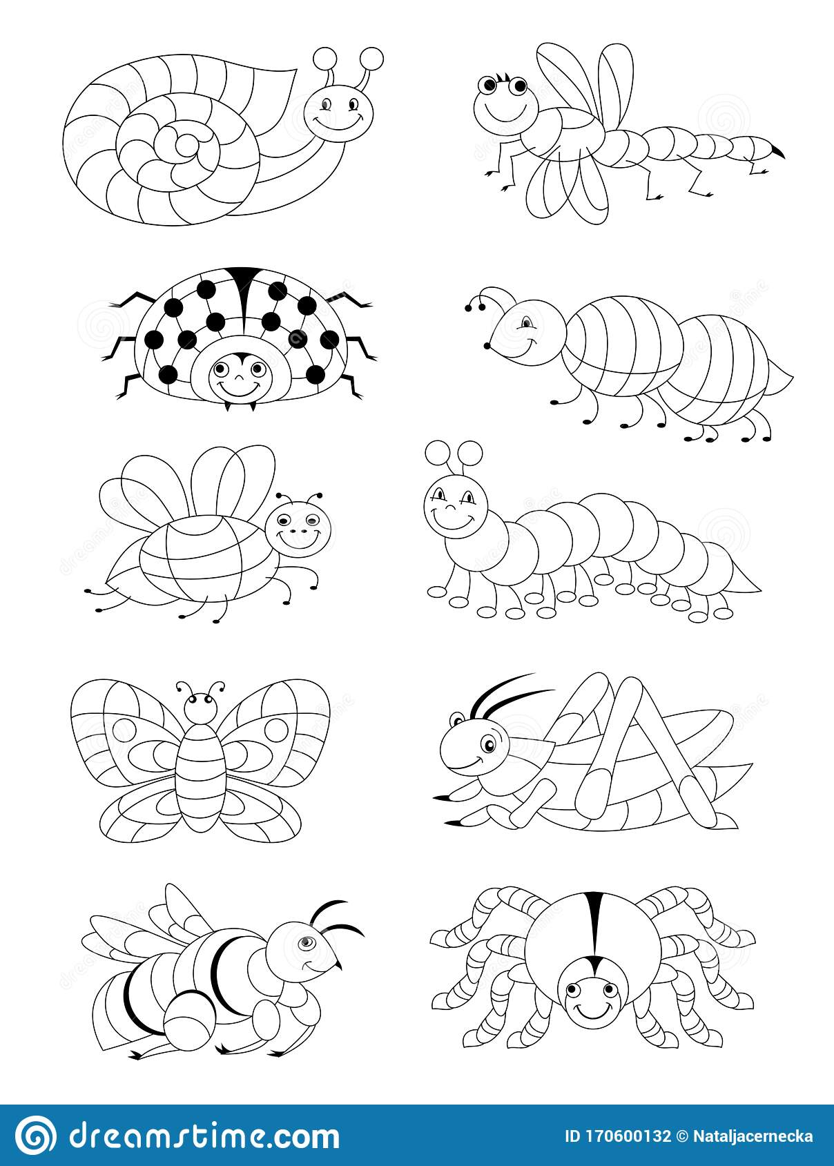 Black And White Page For Baby Coloring Book Set Of
