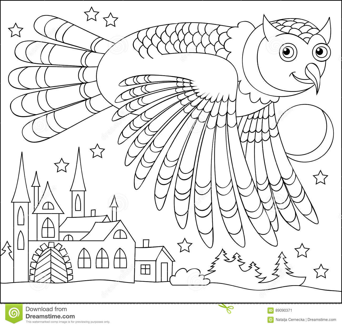 Black And White Page For Coloring Drawing Of Owl Flying