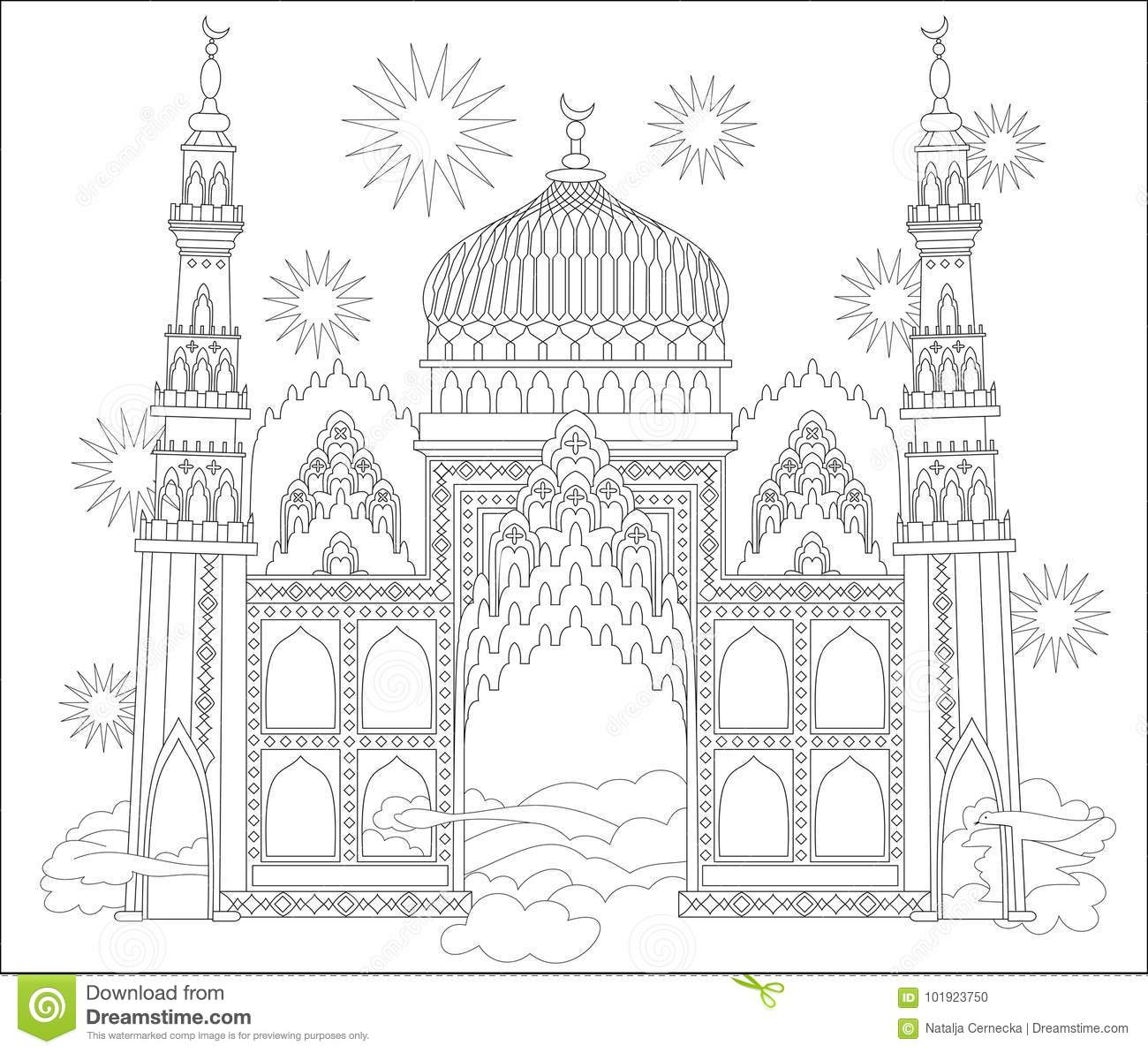 Black And White Page For Coloring. Fantastic Arab Castle