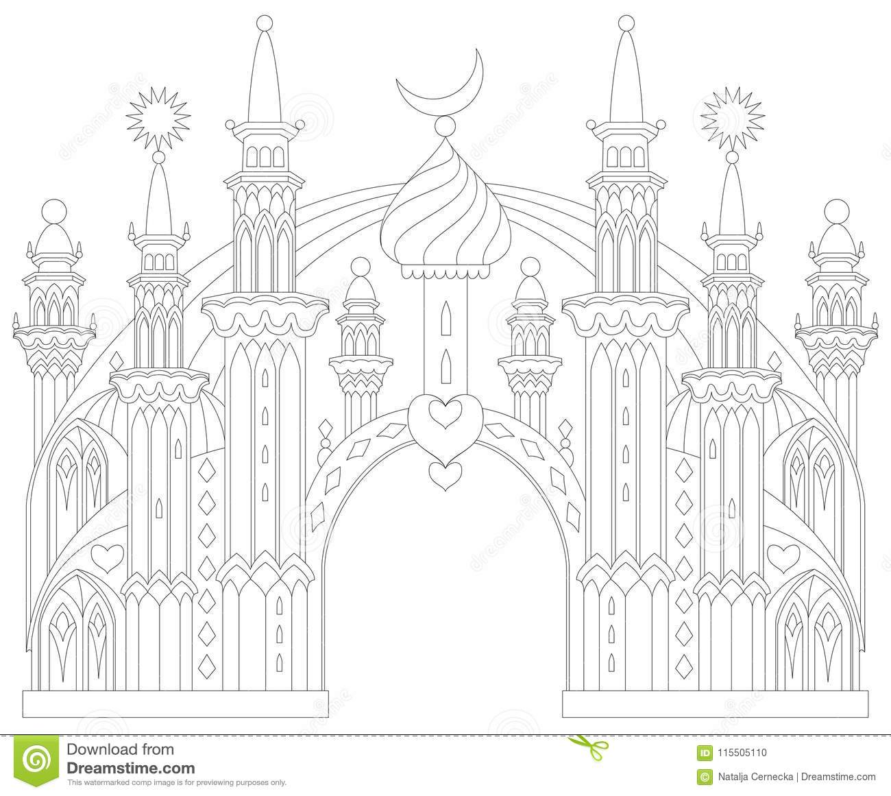 Black And White Page For Coloring Fantastic East Castle