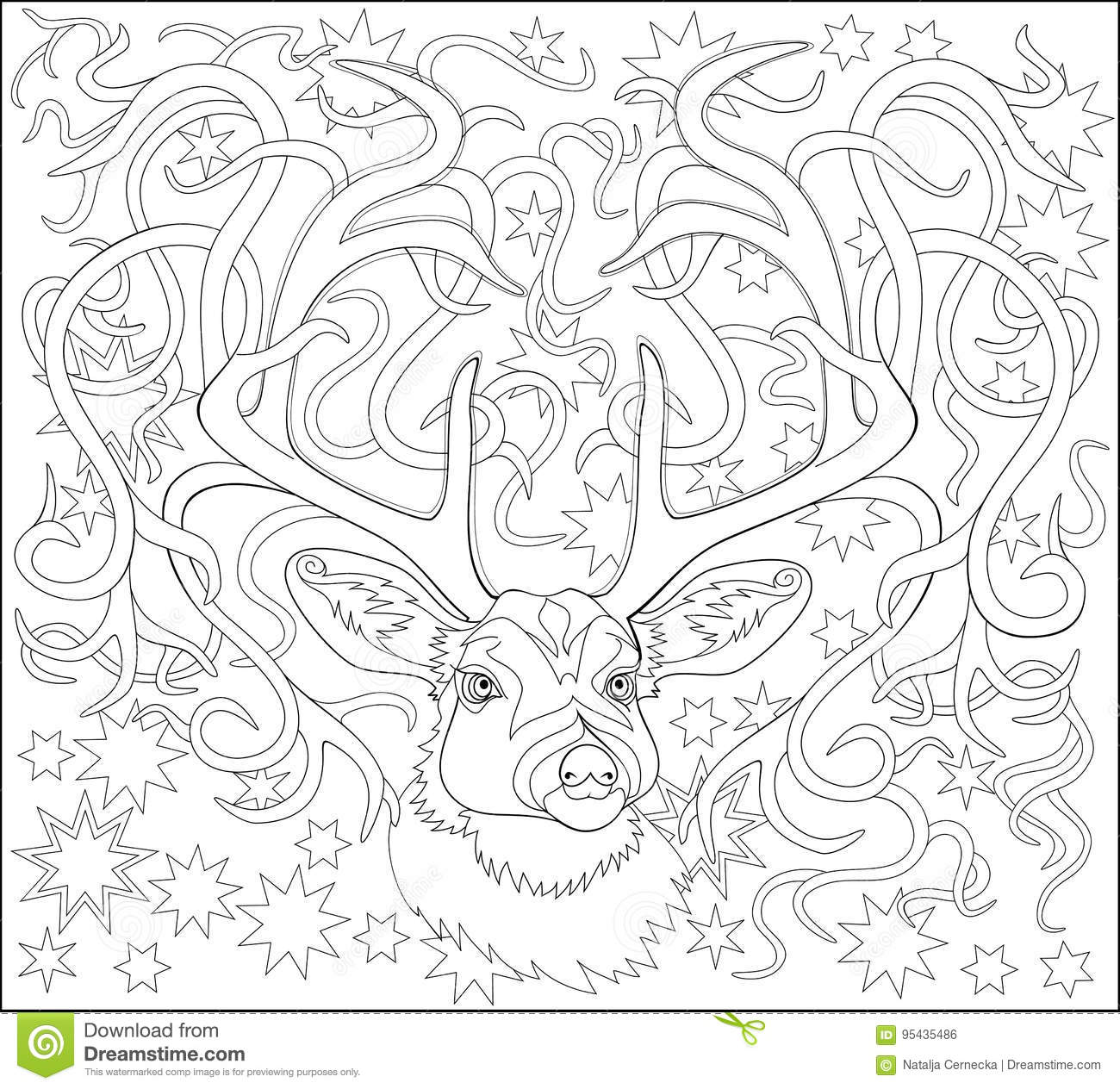 Black And White Page For Coloring Fantasy Drawing Of Deer