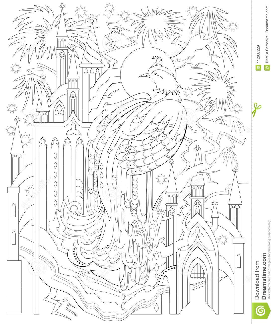Black And White Page For Coloring Fantasy Drawing Of