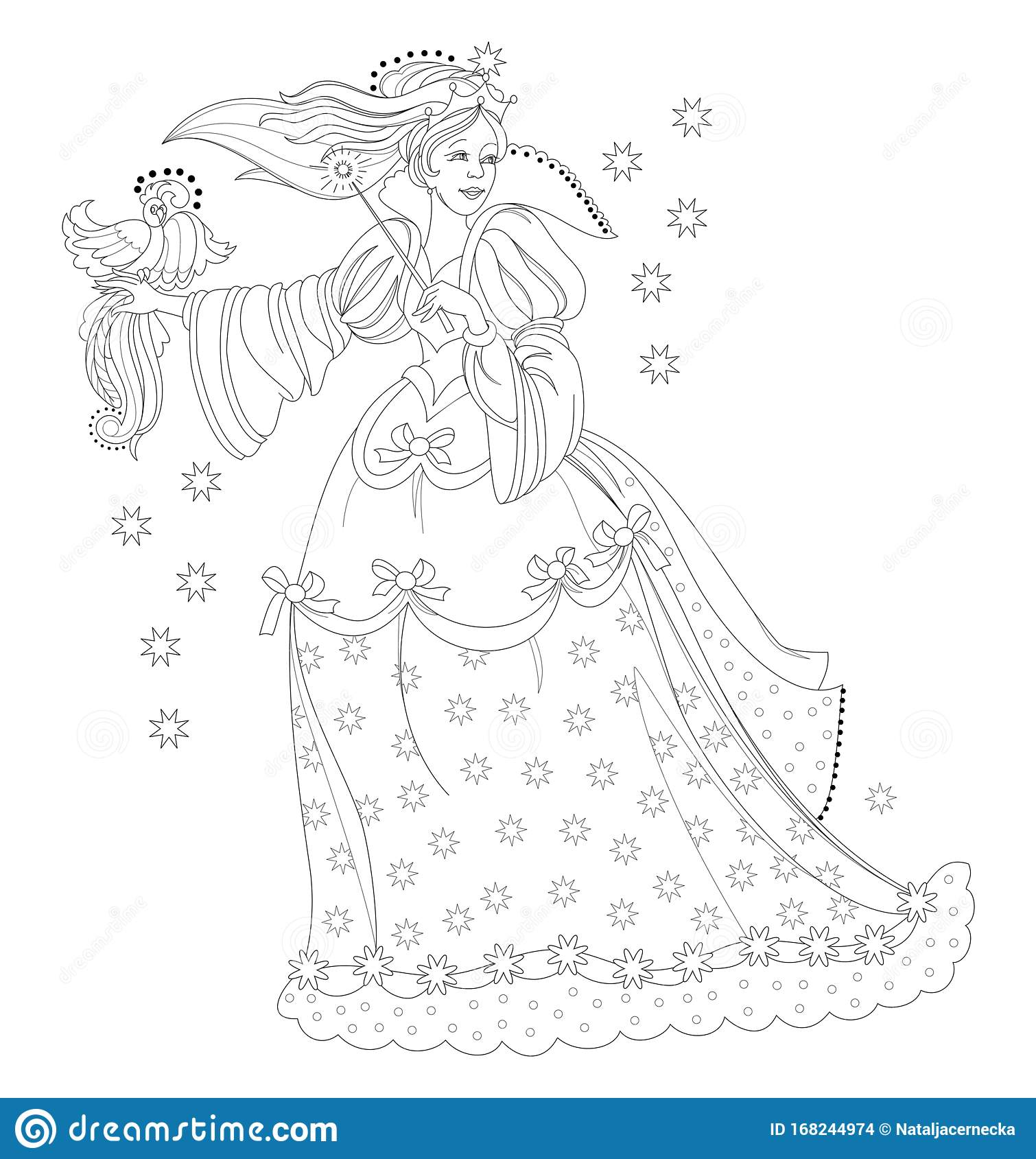 Black And White Page For Kids Coloring Book Fantasy Drawing Of Beautiful Medieval Princess With Magic Wand And Bird Stock Vector Illustration Of Dress Children 168244974