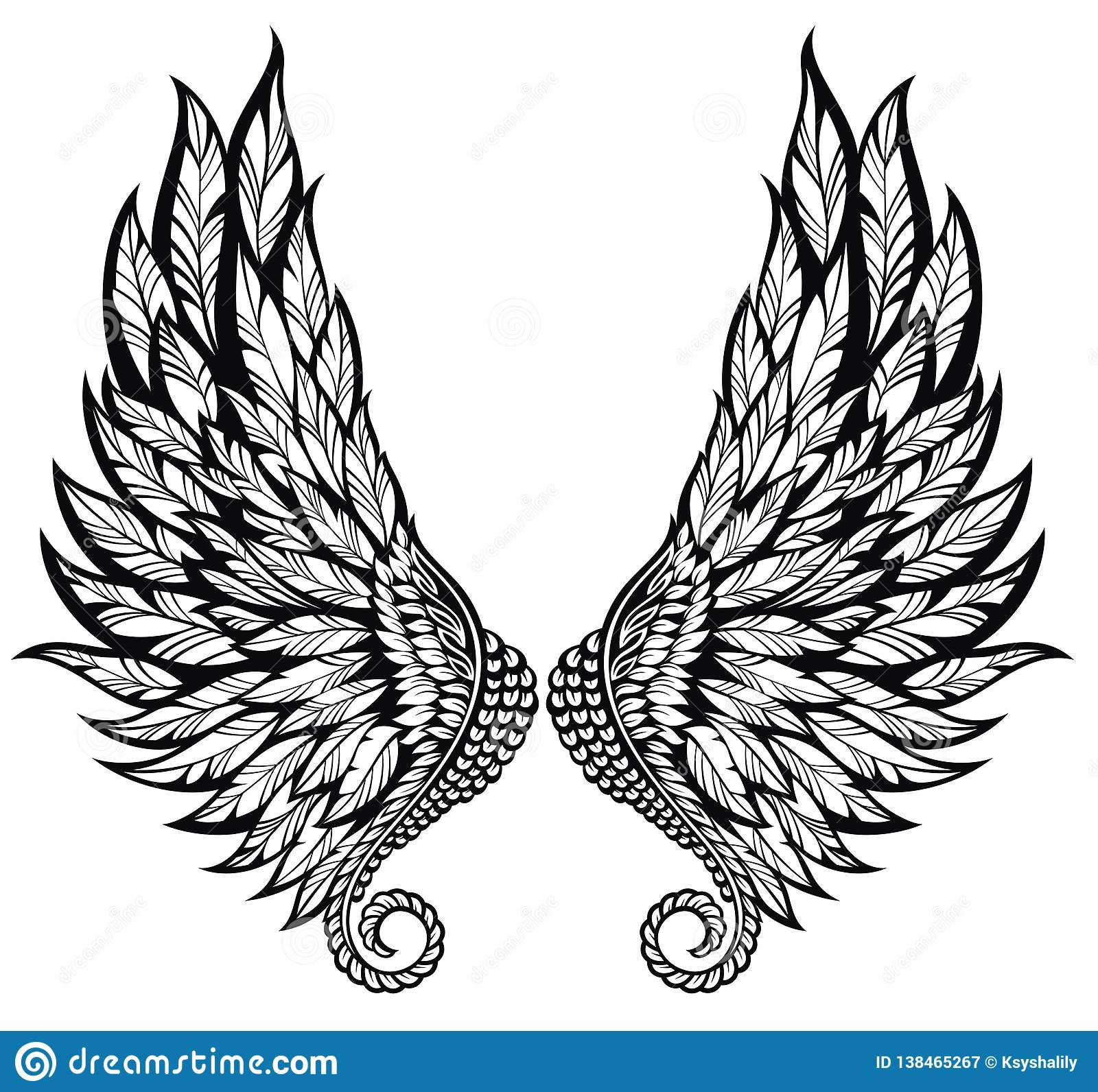 Black And White Angel Wings Tattoo Designs