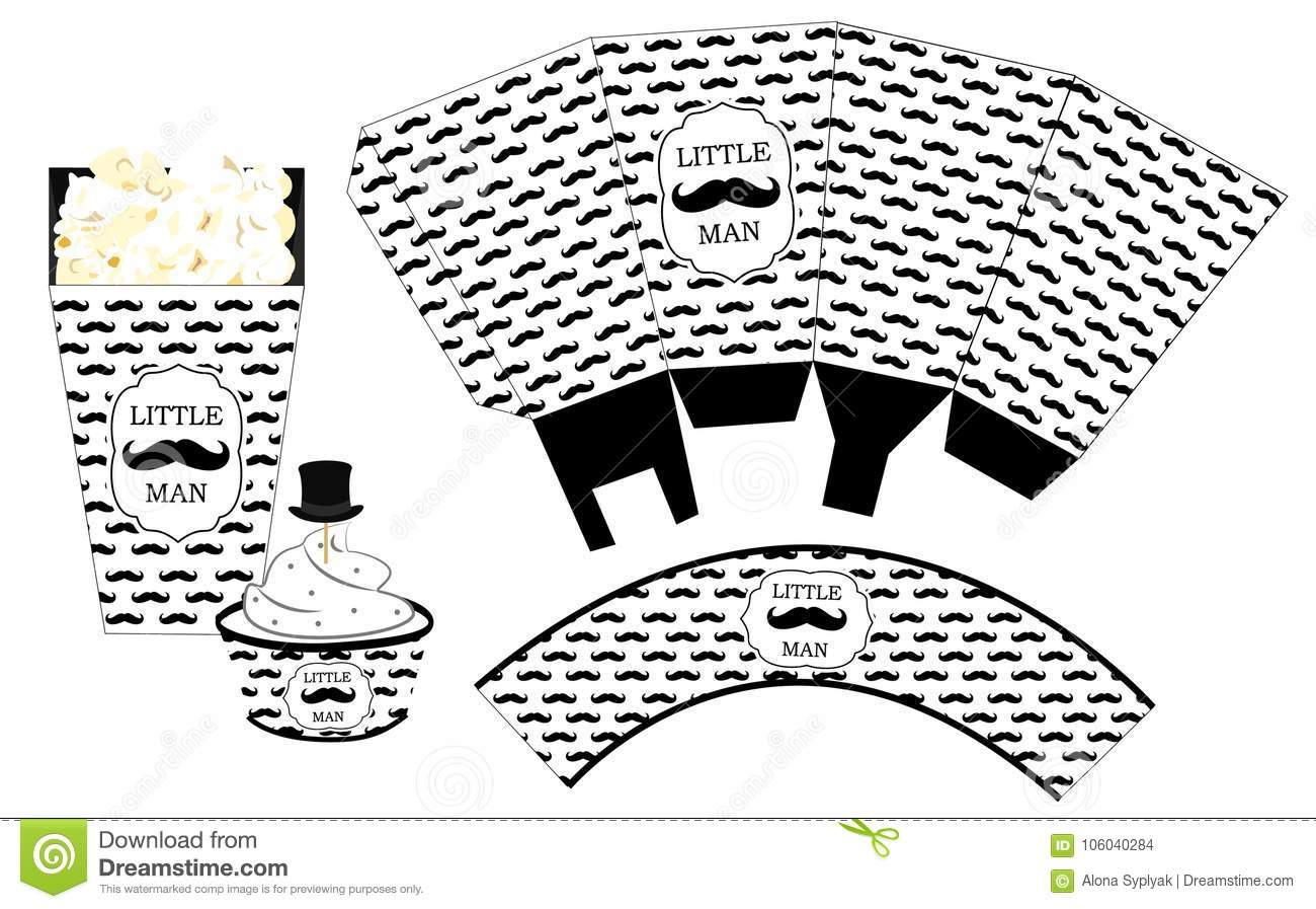 Popcorn Paper Box. Cupcake Wrapper. Printable Template For