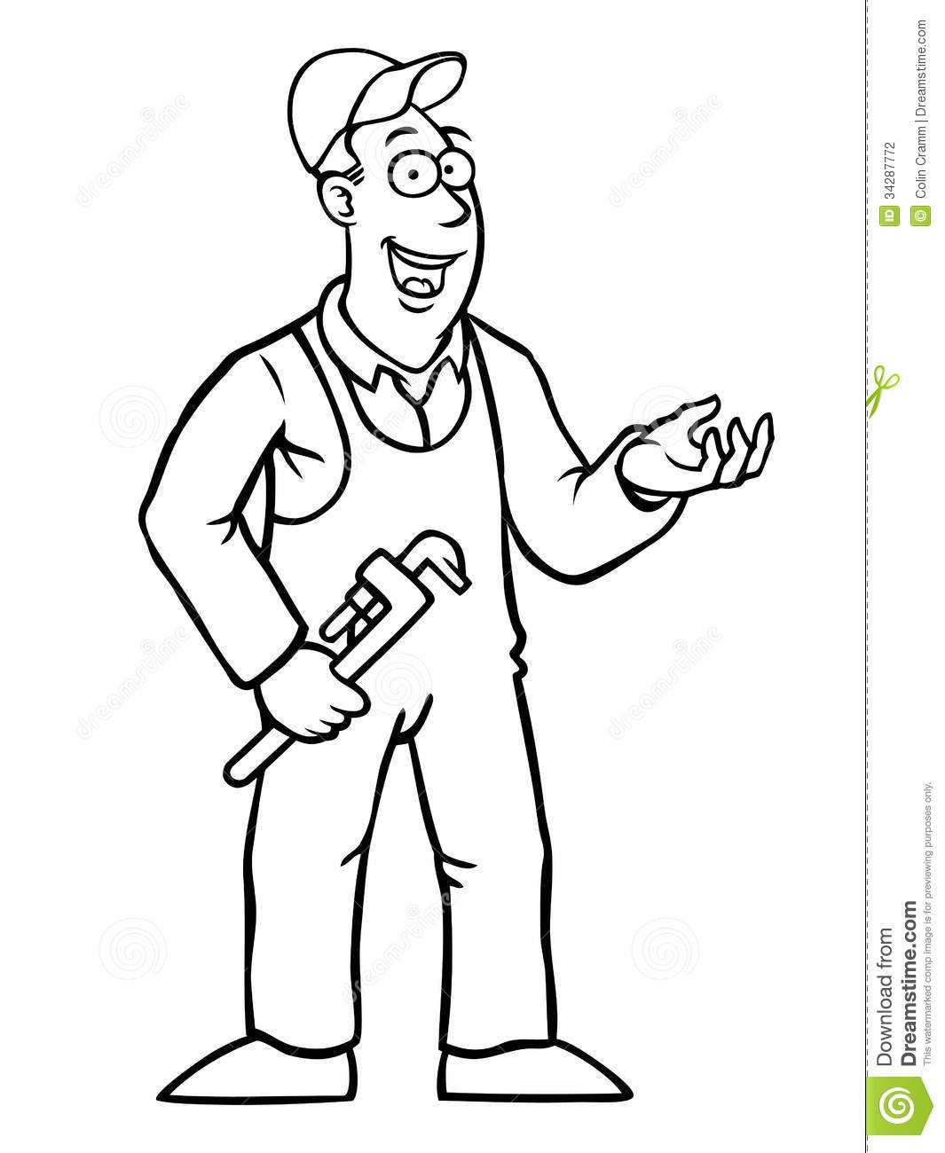 Black And White Plumber With Wrench Stock Vector