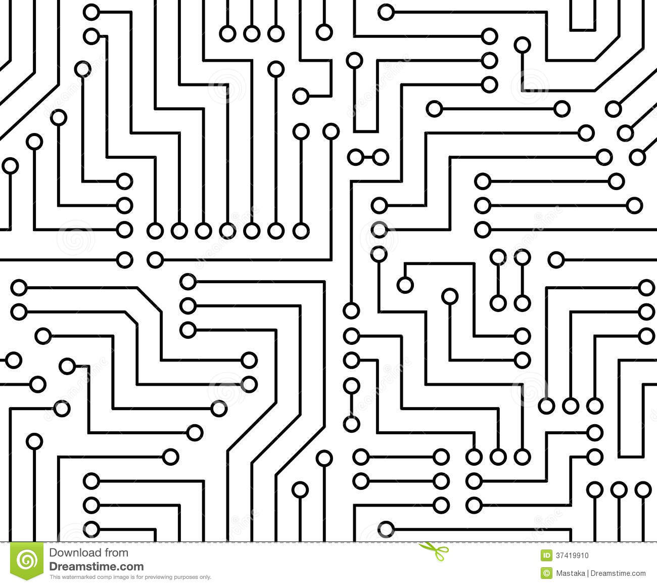 Black And White Printed Circuit Board Stock Vector