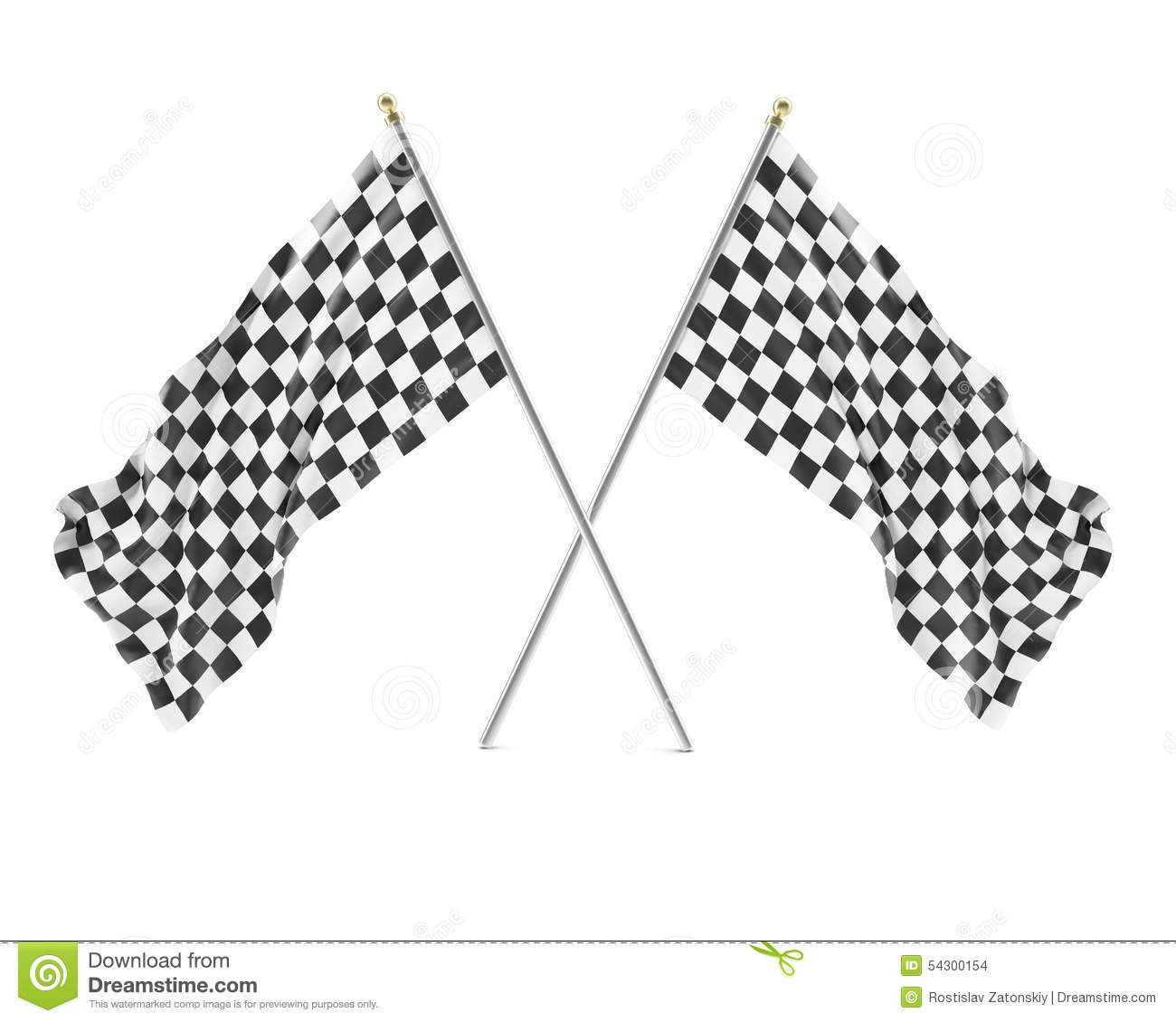 Black And White Racing Flag Isolated On A White Stock