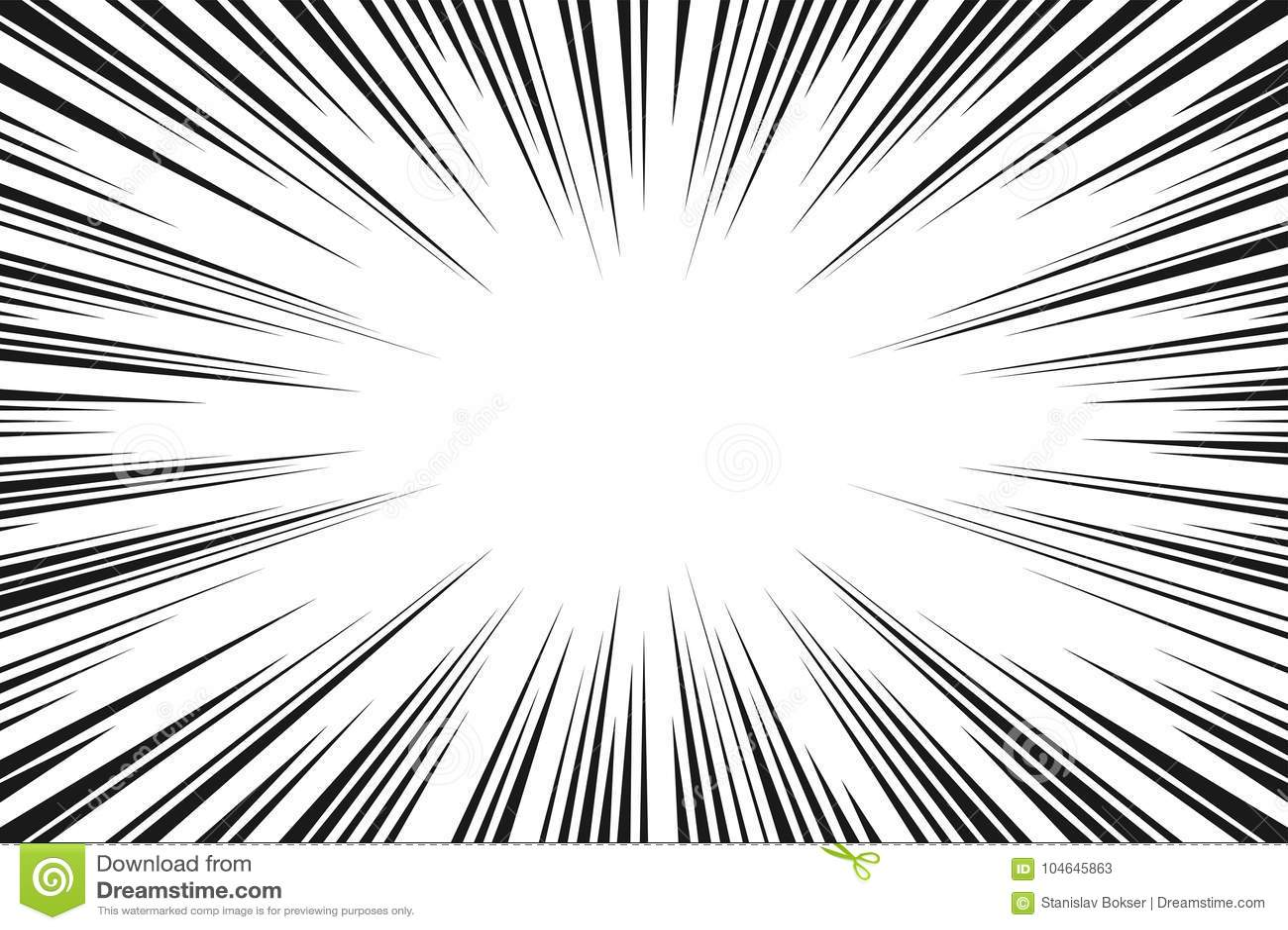 Black And White Radial Lines Comics Style Backround. Manga