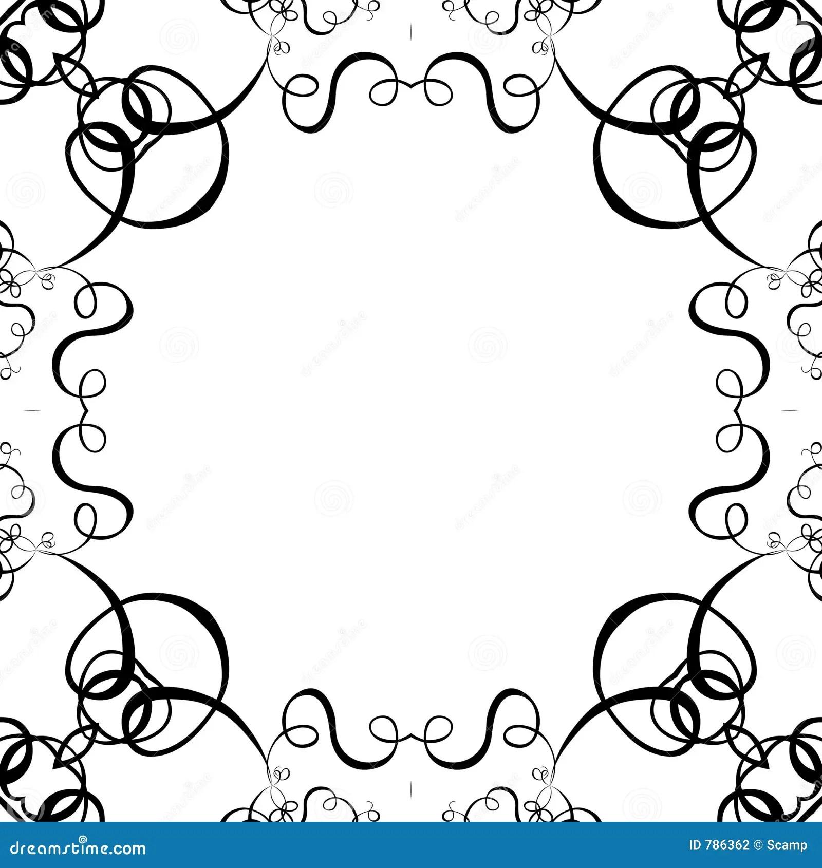 Black Amp White Scroll Frame Background Stock Illustration