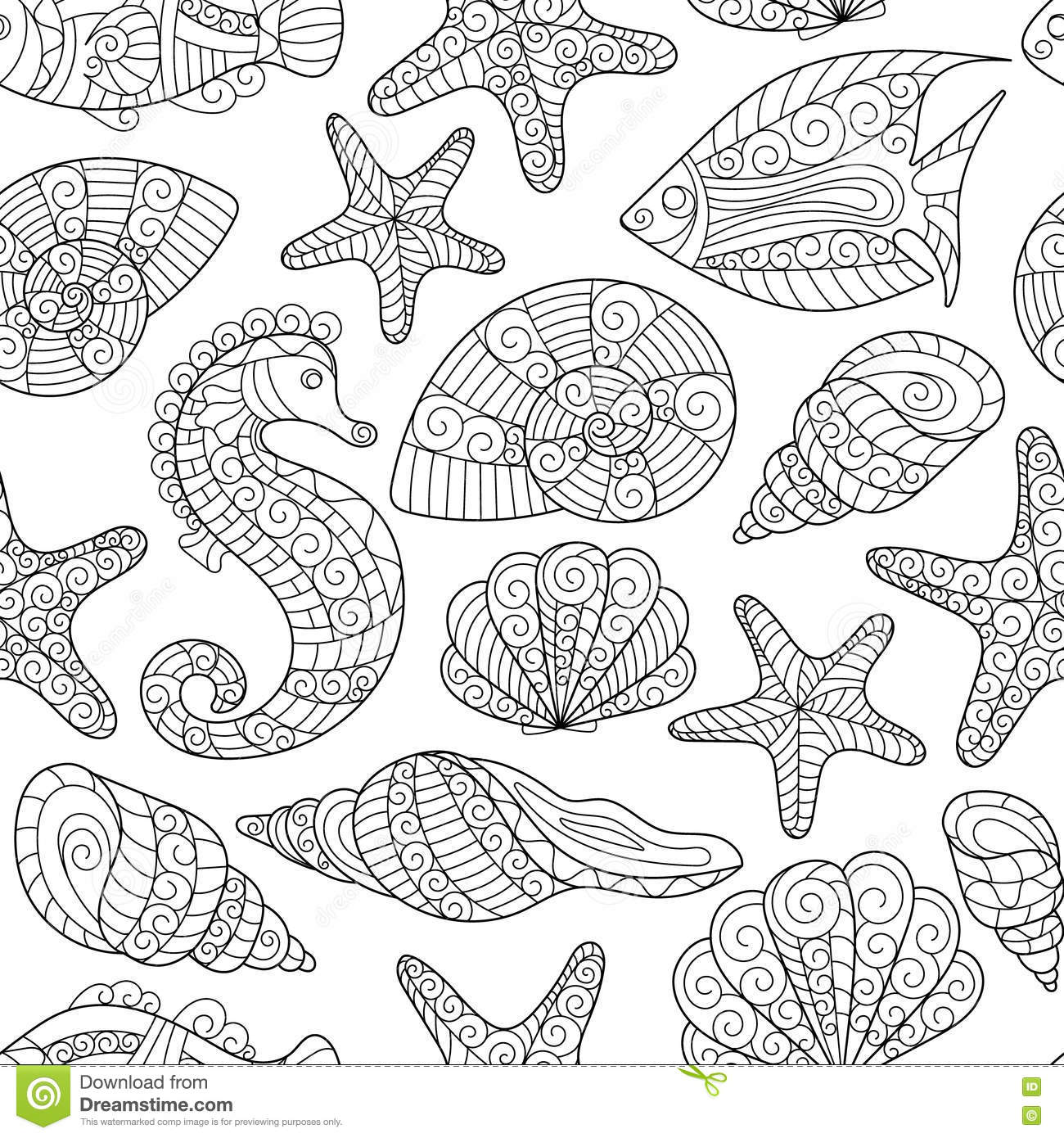 Seamless Pattern For Coloring Book. Cartoon Vector