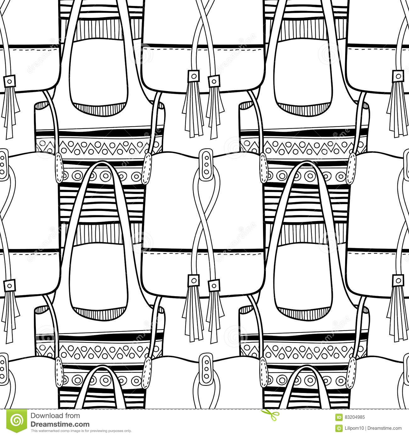 Black And White Seamless Pattern With Fashion Bags For Coloring Vector Illustration