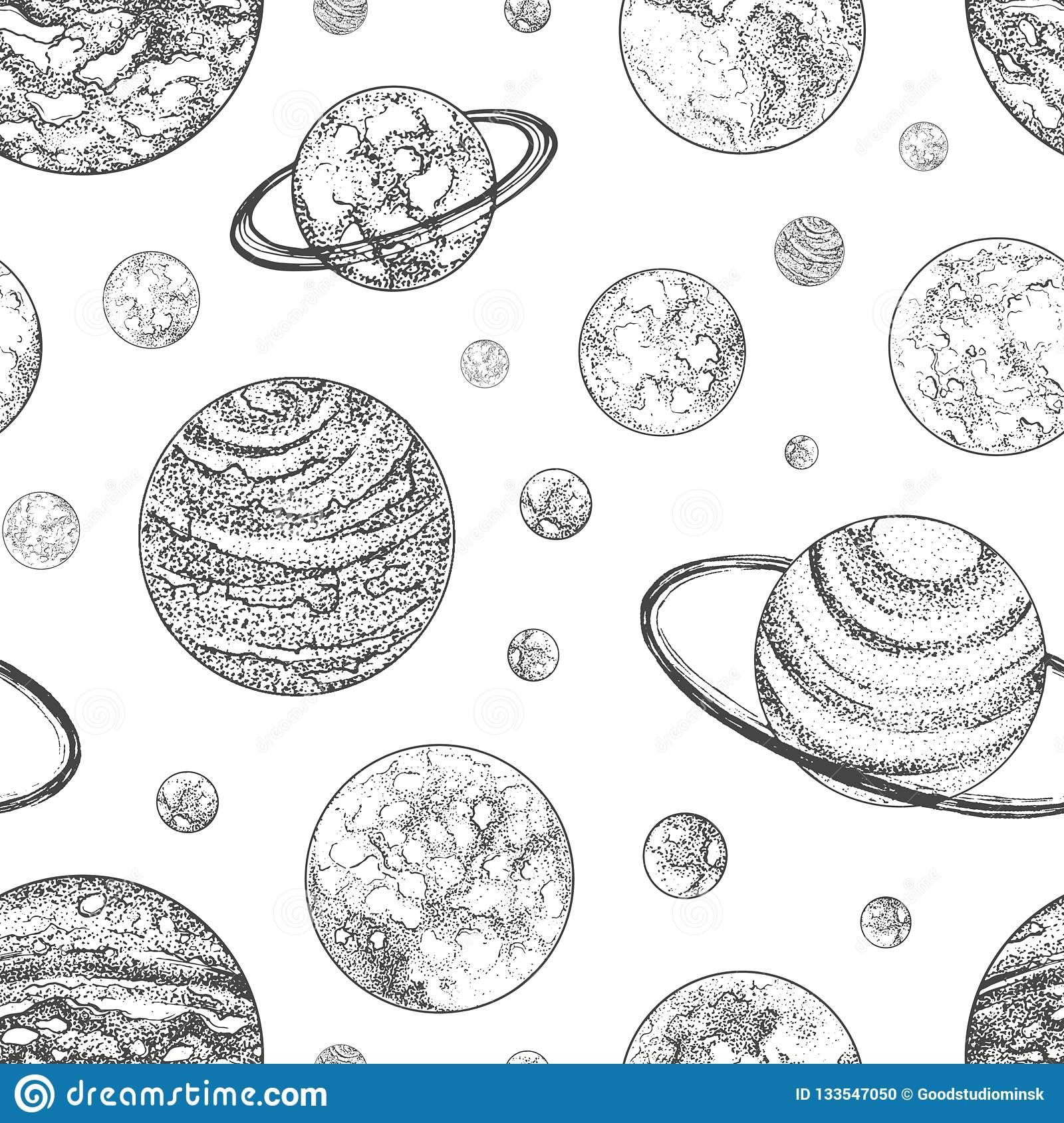 Black And White Seamless Pattern With Planets And Other