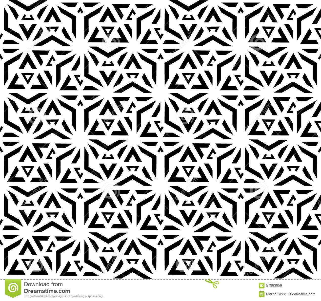 Black And White Seamless Pattern Sacred Geometry Stock