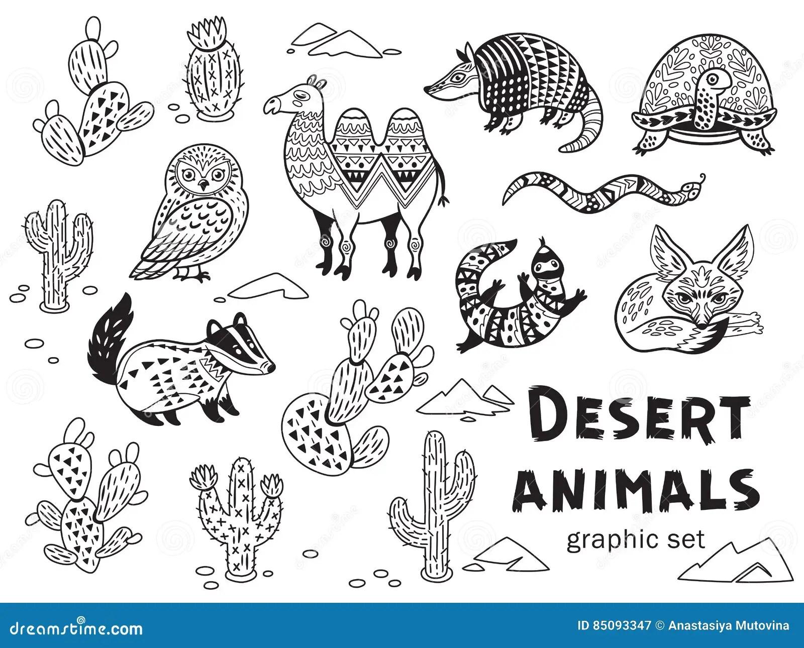 Black And White Set Of Desert Animals Stock Vector