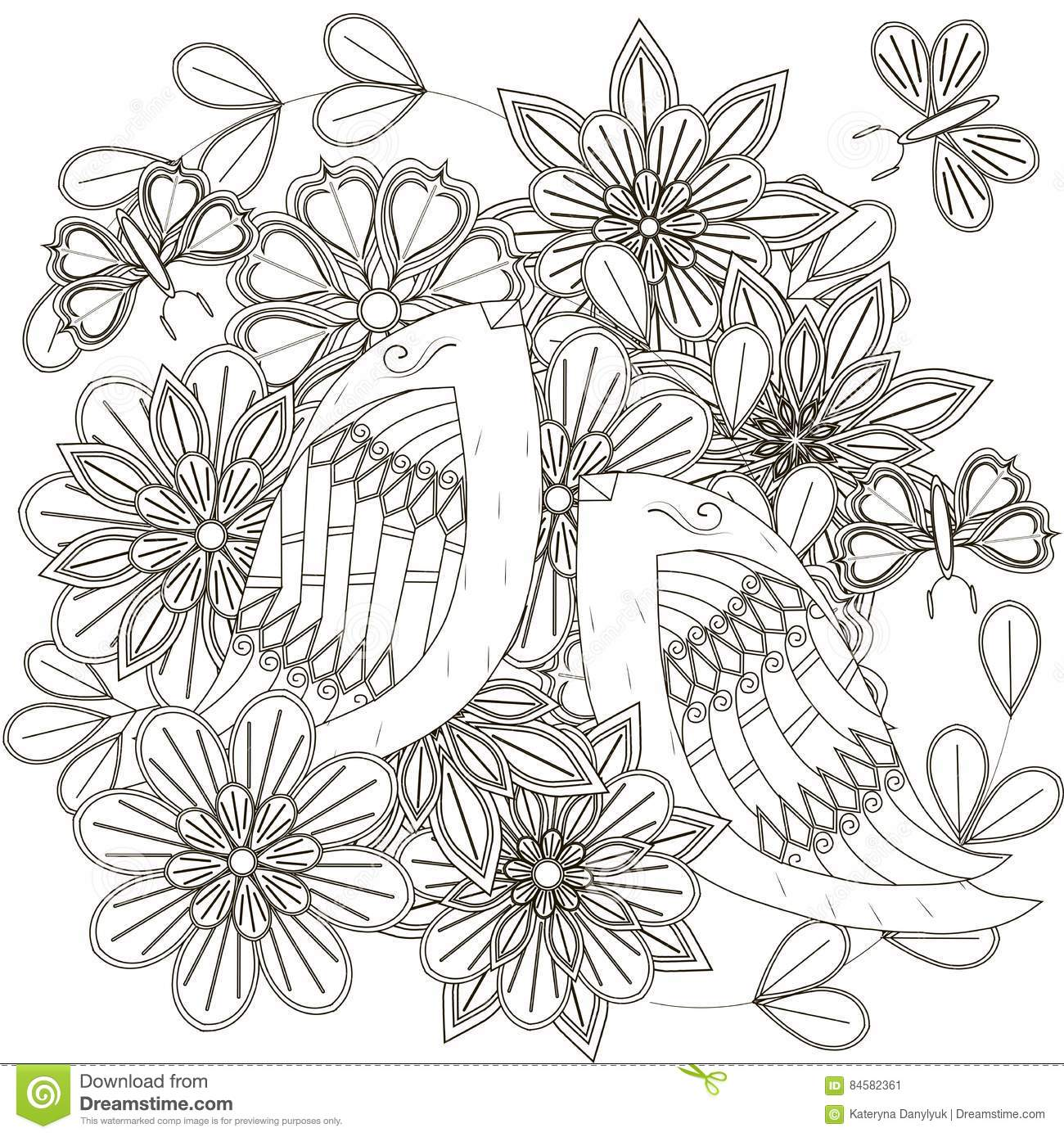 Black And White Sketch Of Bouquet With Birds, Stylized
