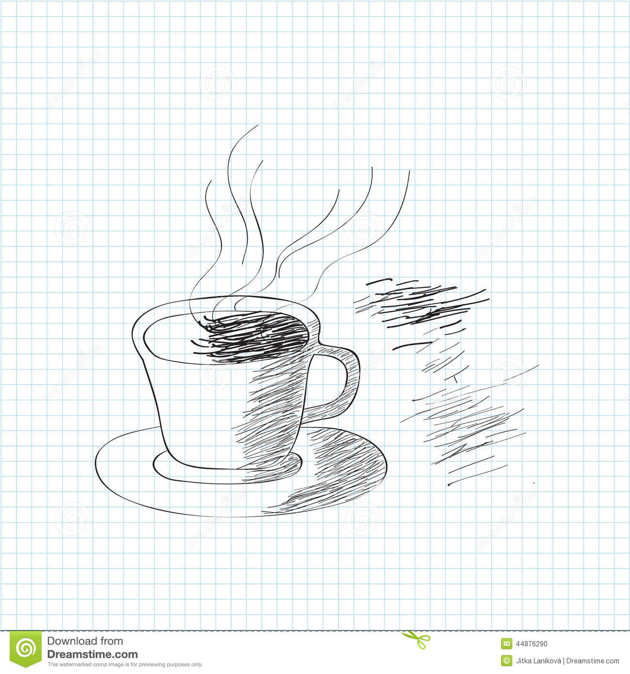 Black And White Sketch Of Coffee Cup Stock Illustration