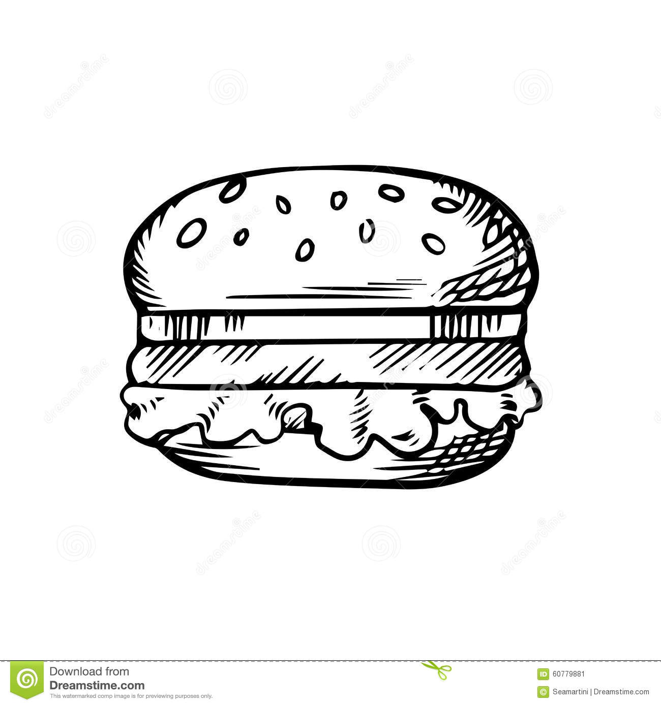 Black And White Sketch Of A Hamburger Stock Vector