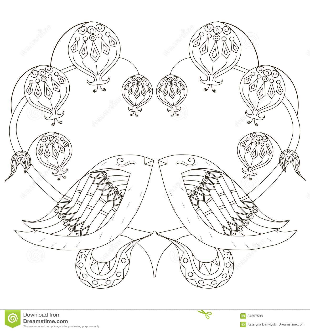 Black And White Sketch Of Loving Birds, Stylized Heart