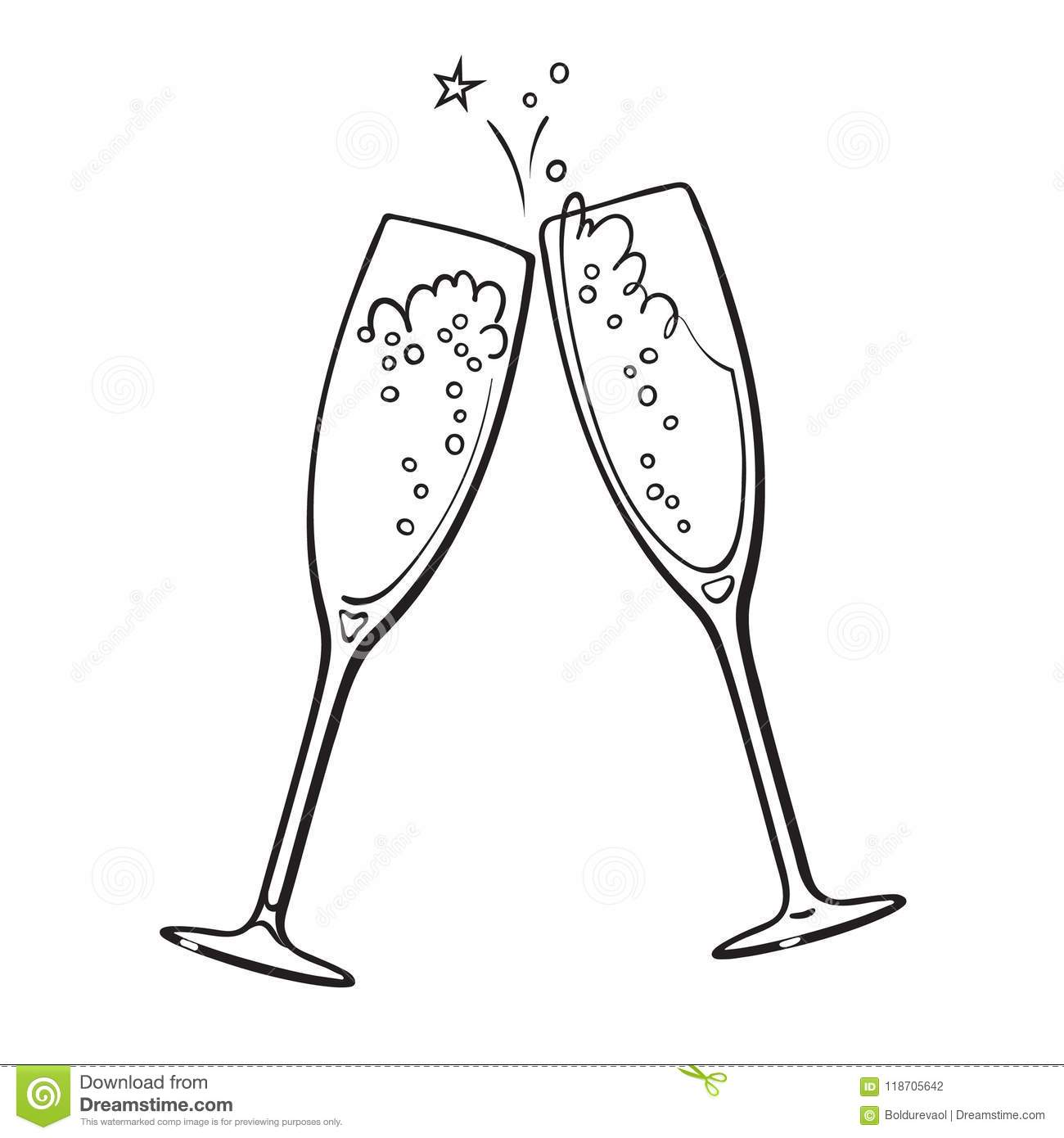 Black And White Sketch Of Two Glasses Of Champagne Stock