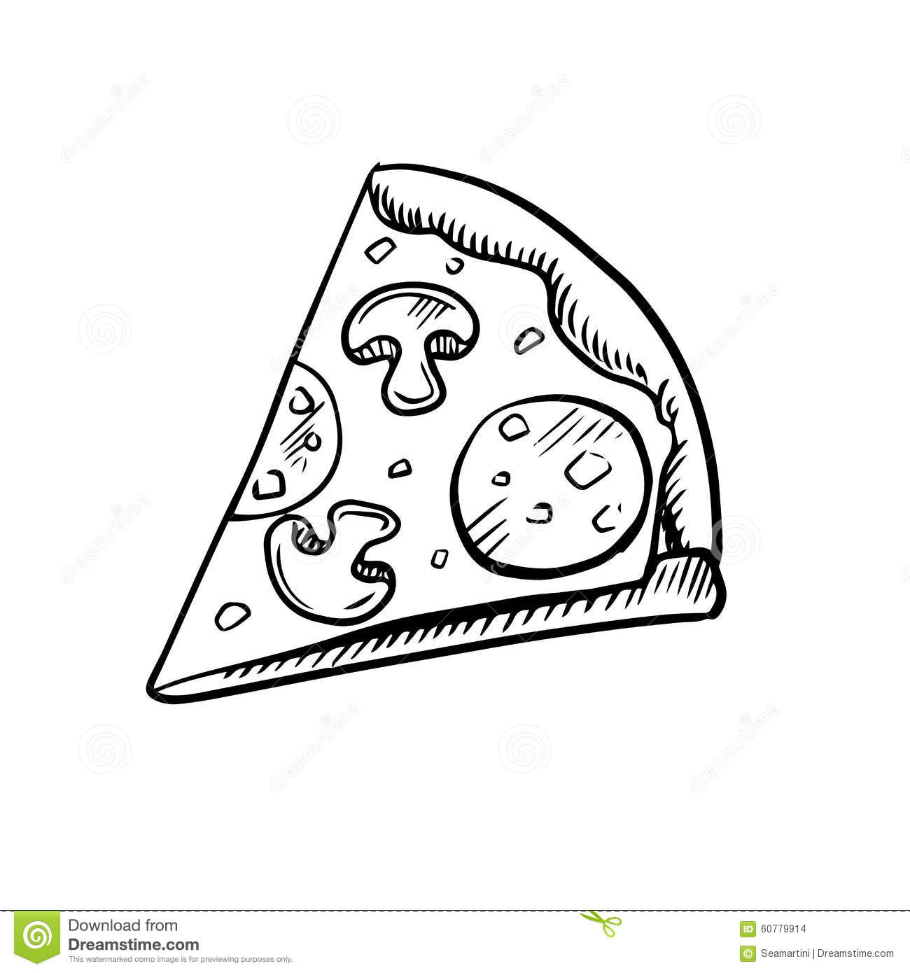 Black And White Slice Of Pepperoni Pizza Stock Vector