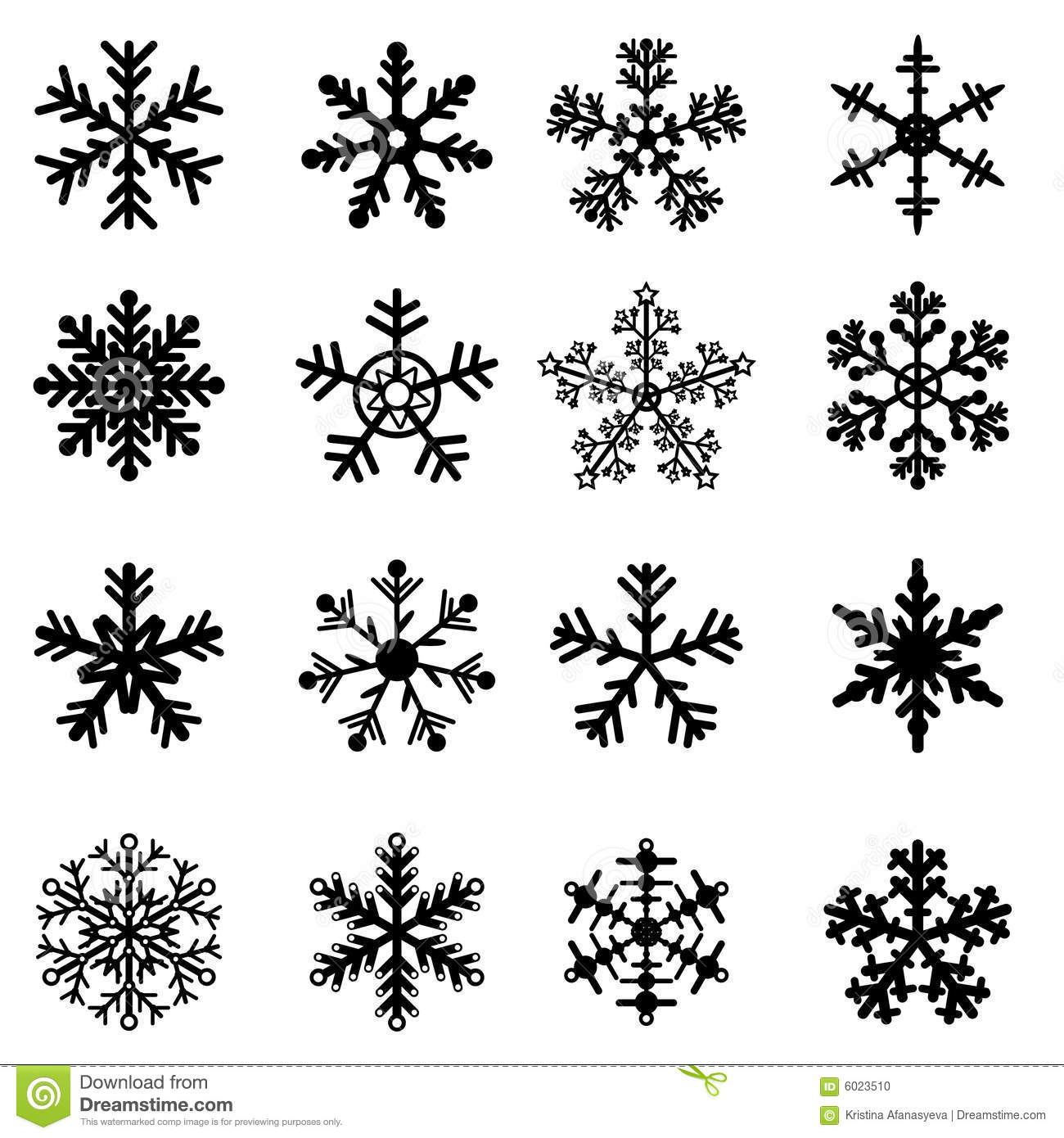Black And White Snowflakes Set Stock Vector