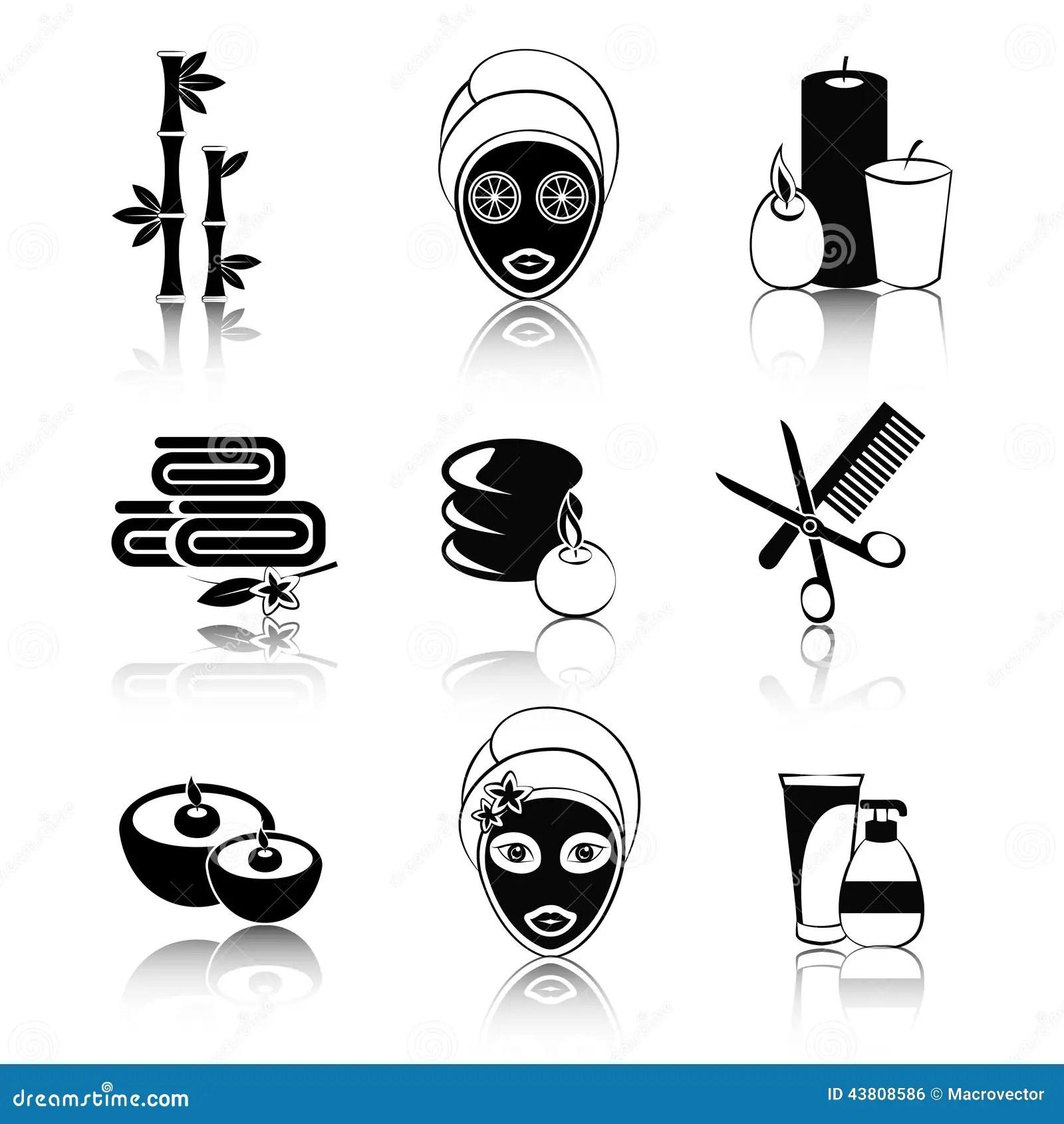 Mask Black White Icons Set Vector Illustration