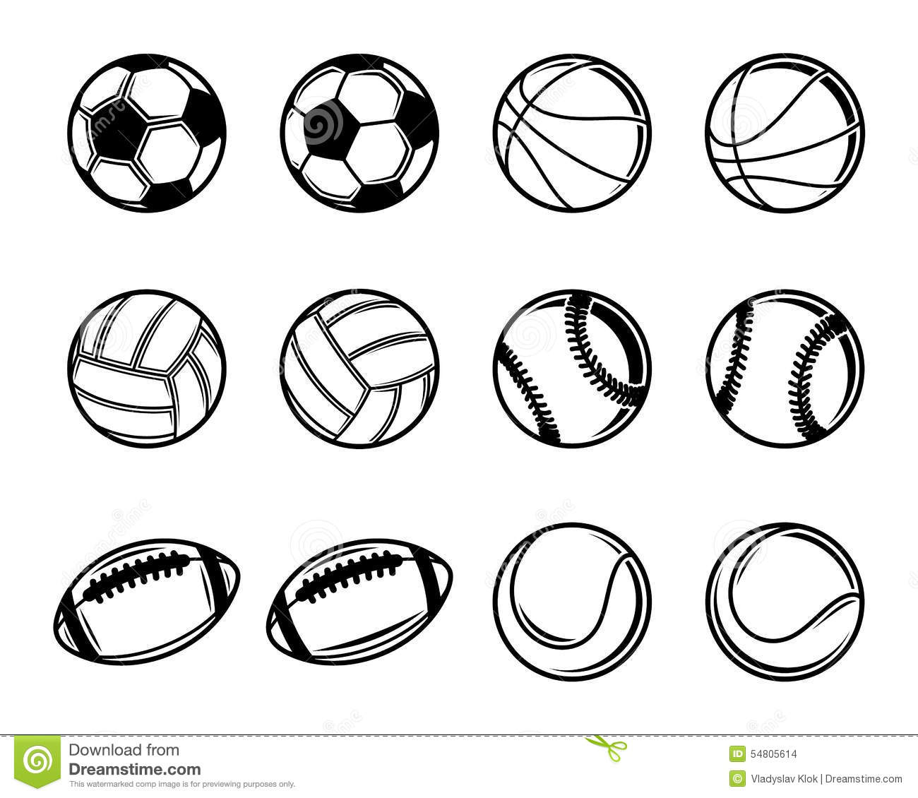 Black And White Sports Balls Collection Stock Vector