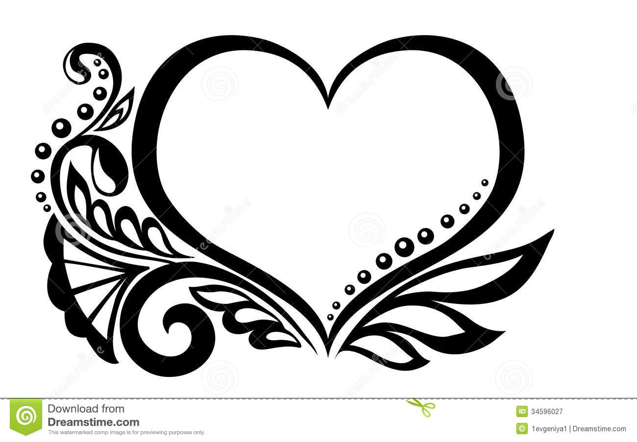Black And White Symbol Of A Heart With Floral Desi Stock