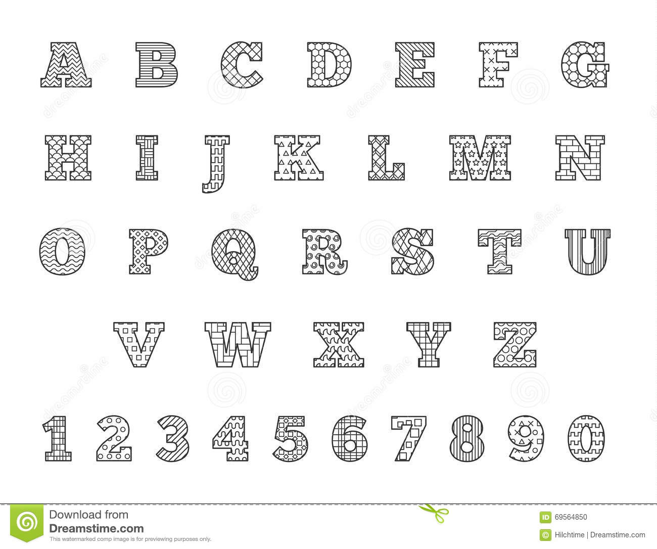 Black And White Thin Line Font Linear Alphabet With