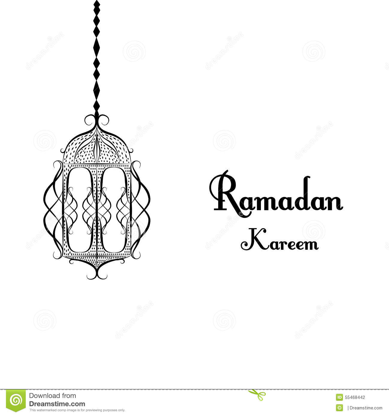 Black And White Traditional Lantern Of Ramadan Ramadan