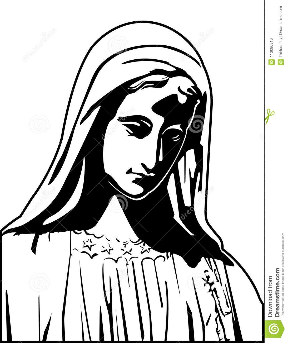 Black And White Virgin Mary Vector Illustration Stock