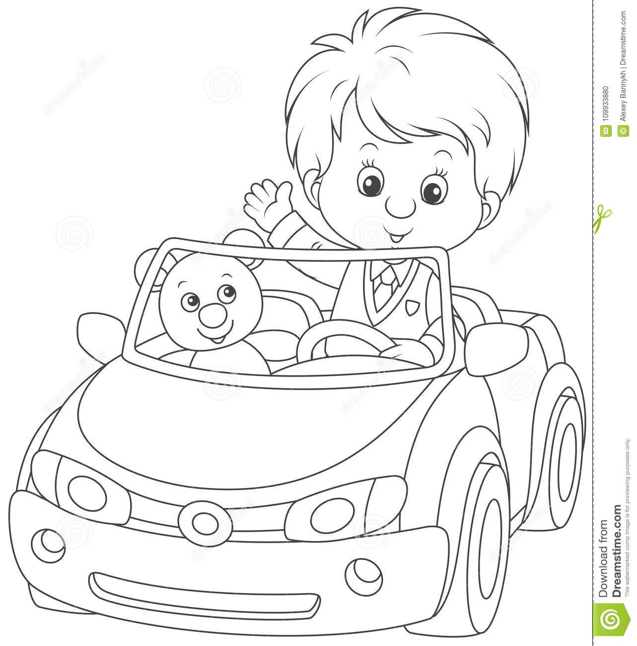 Little Boy In A Toy Car Stock Vector Illustration Of