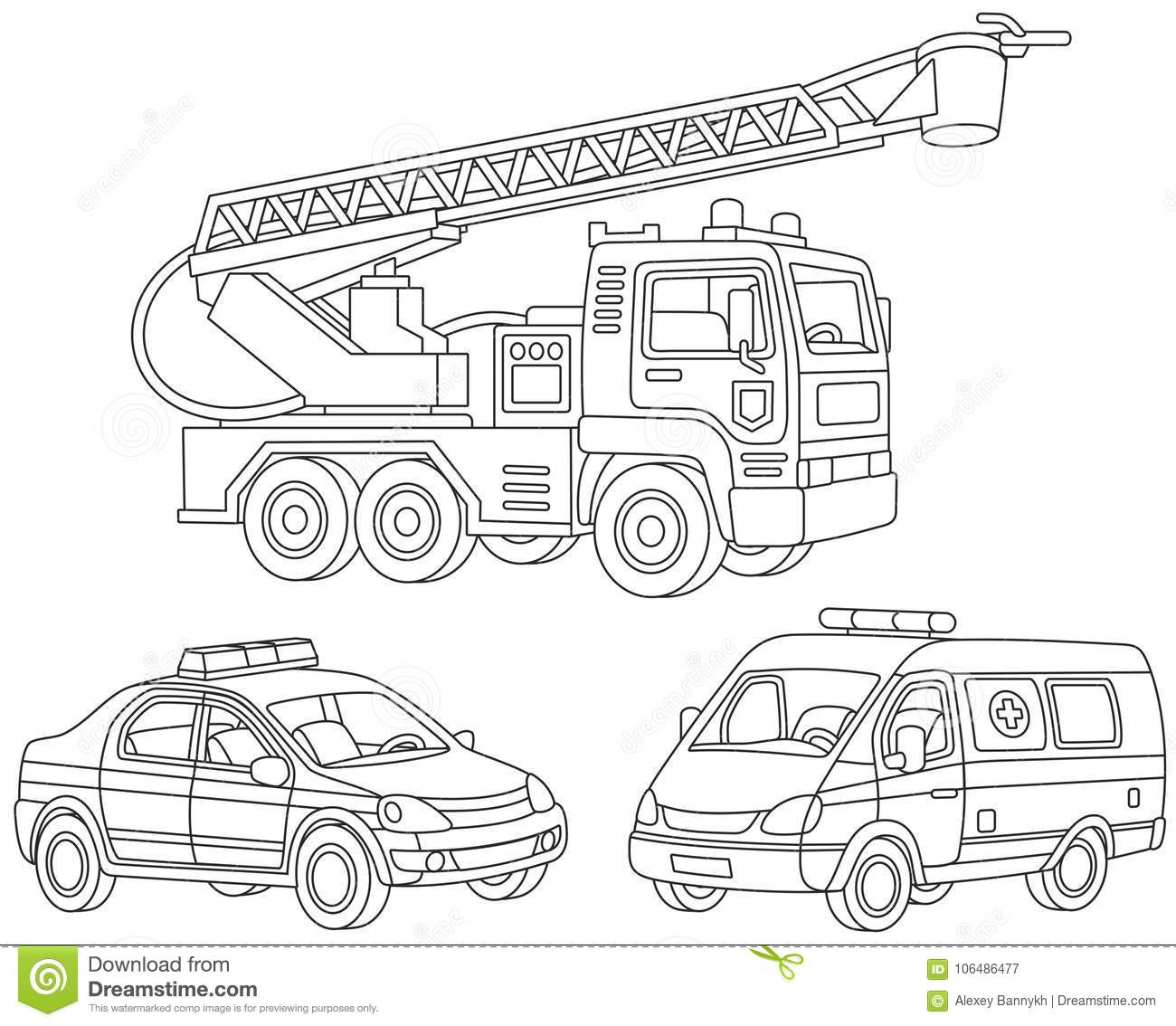Set of special transport stock vector. Illustration of