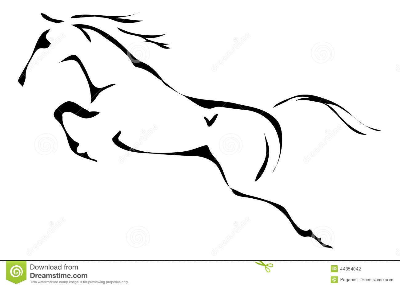 Black And White Vector Outlines Of Jumping Horse Stock