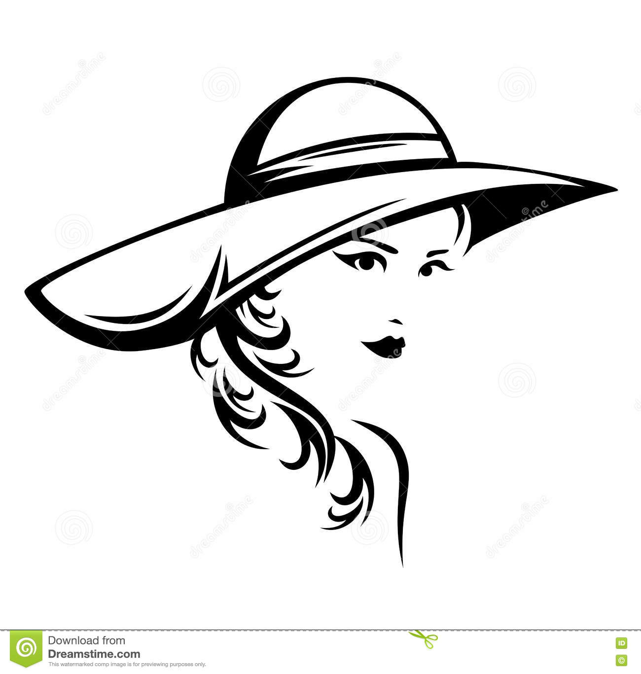 Black And White Vector Portrait Of A Beautiful Woman Stock