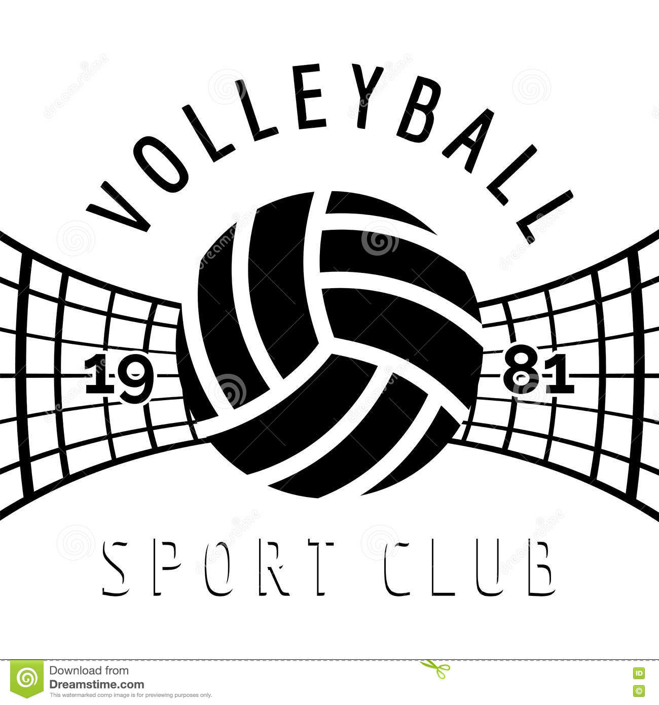 Black And White Volleyball Emblem Stock Vector