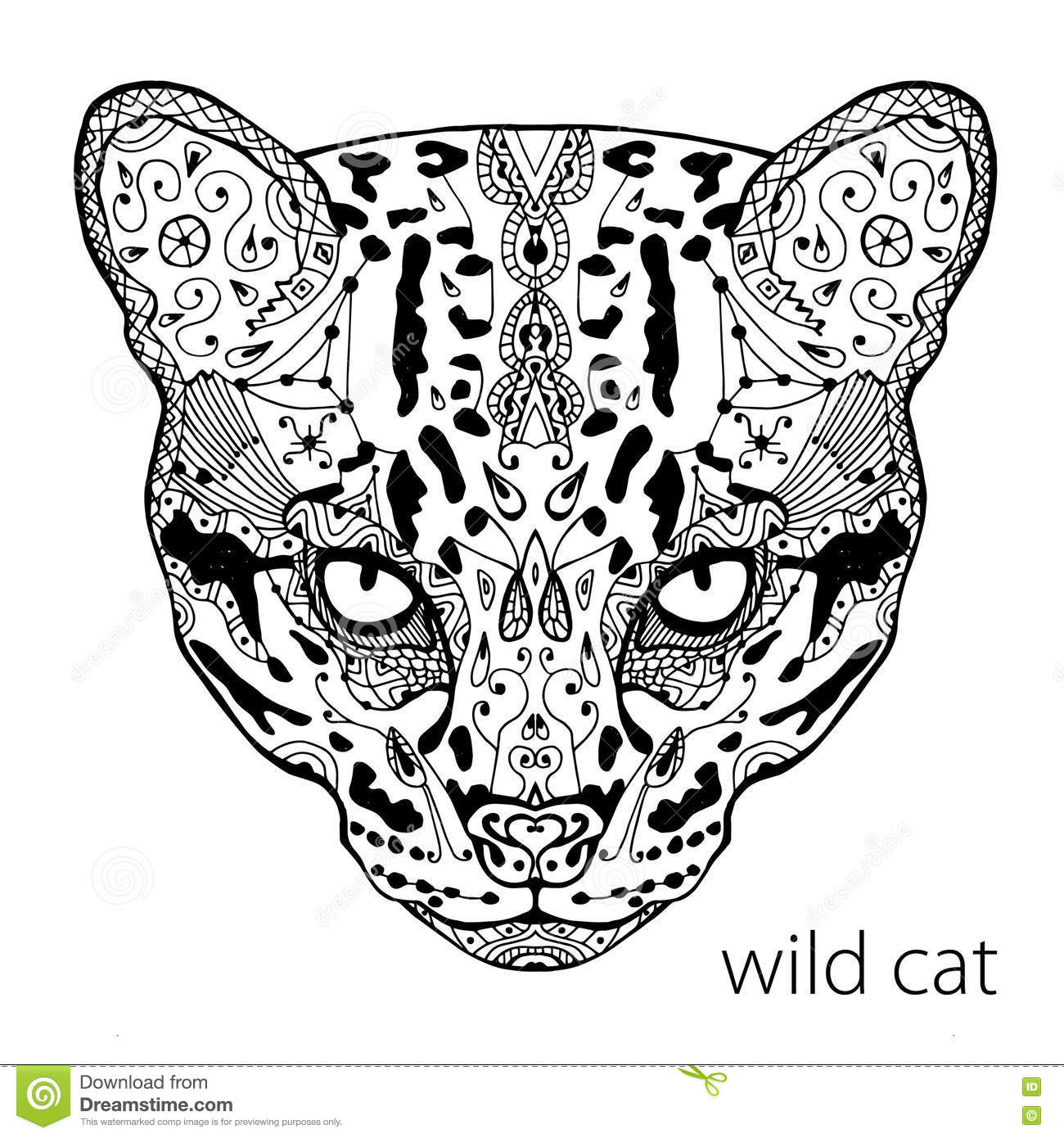 Coloring Antistress. Strong Wild Cat Is Drawn By Hand With
